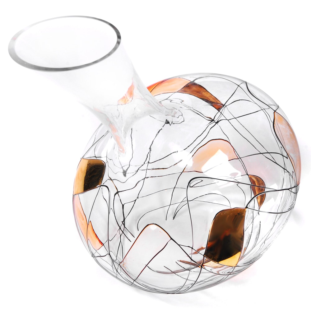 Decorative Gilded Art Glass Wine Carafe