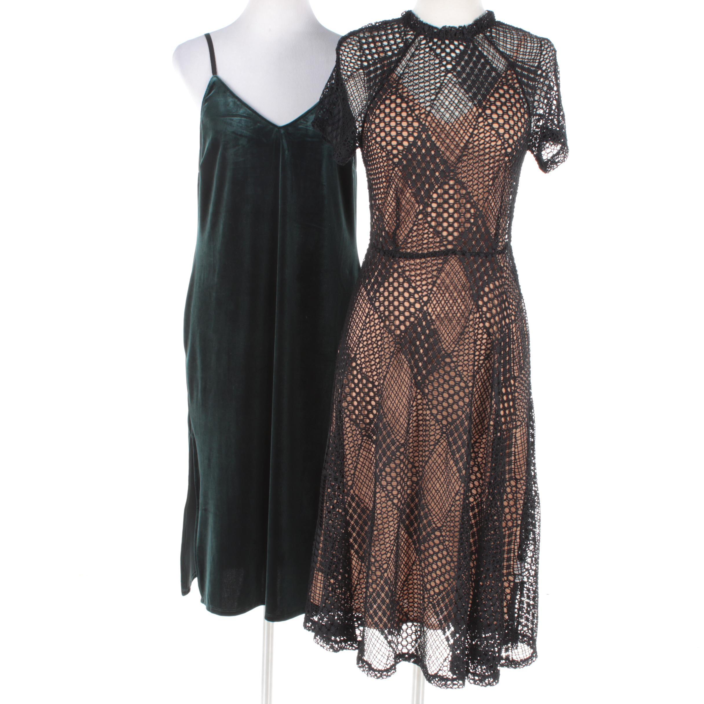 Sanctuary Velveteen Dress and Goldie Black Overlay Dress