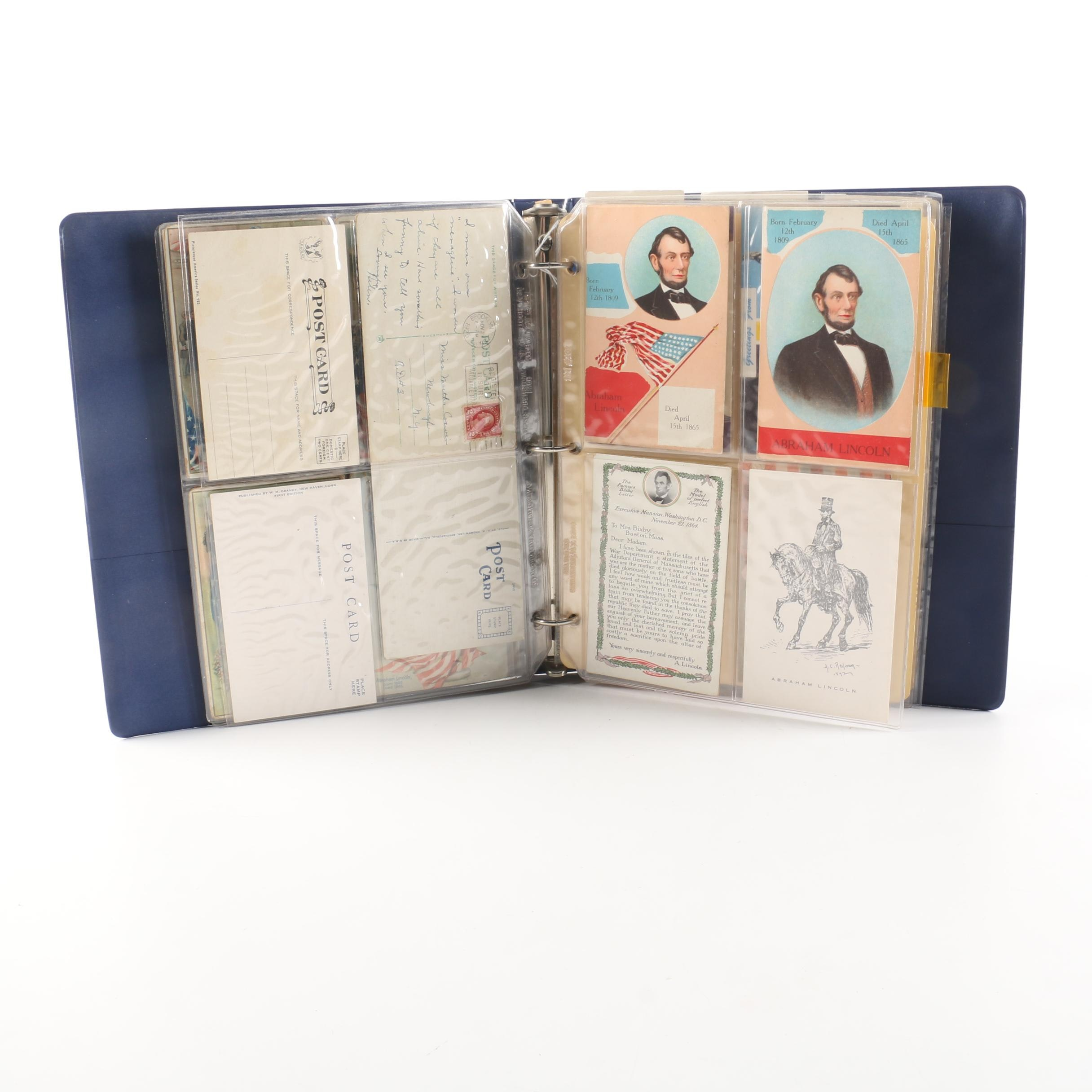 Abraham Lincoln Scrapbook with Postcards and Albumen Photographs
