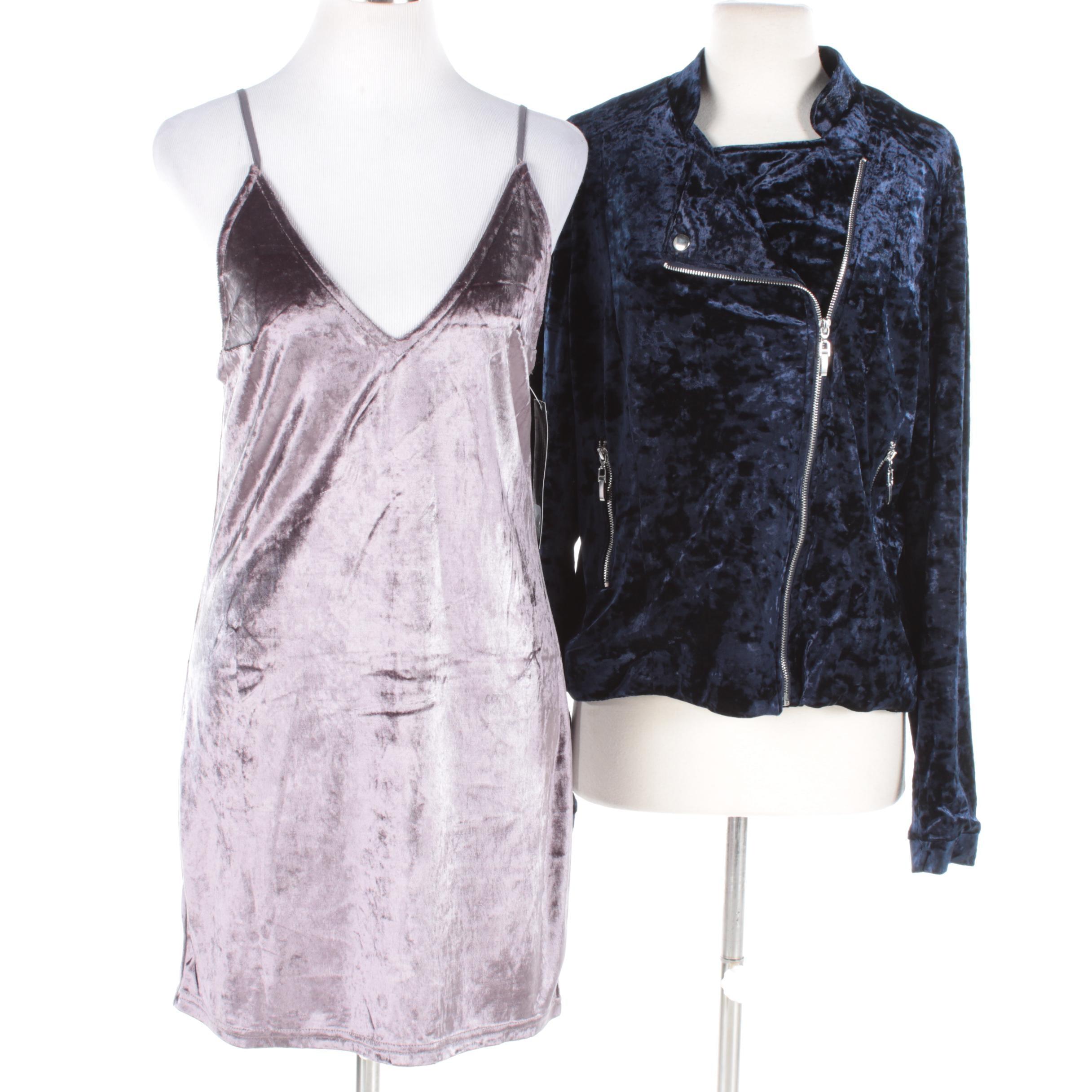 Women's Velveteen Jacket and Slip Dress Including Goldie