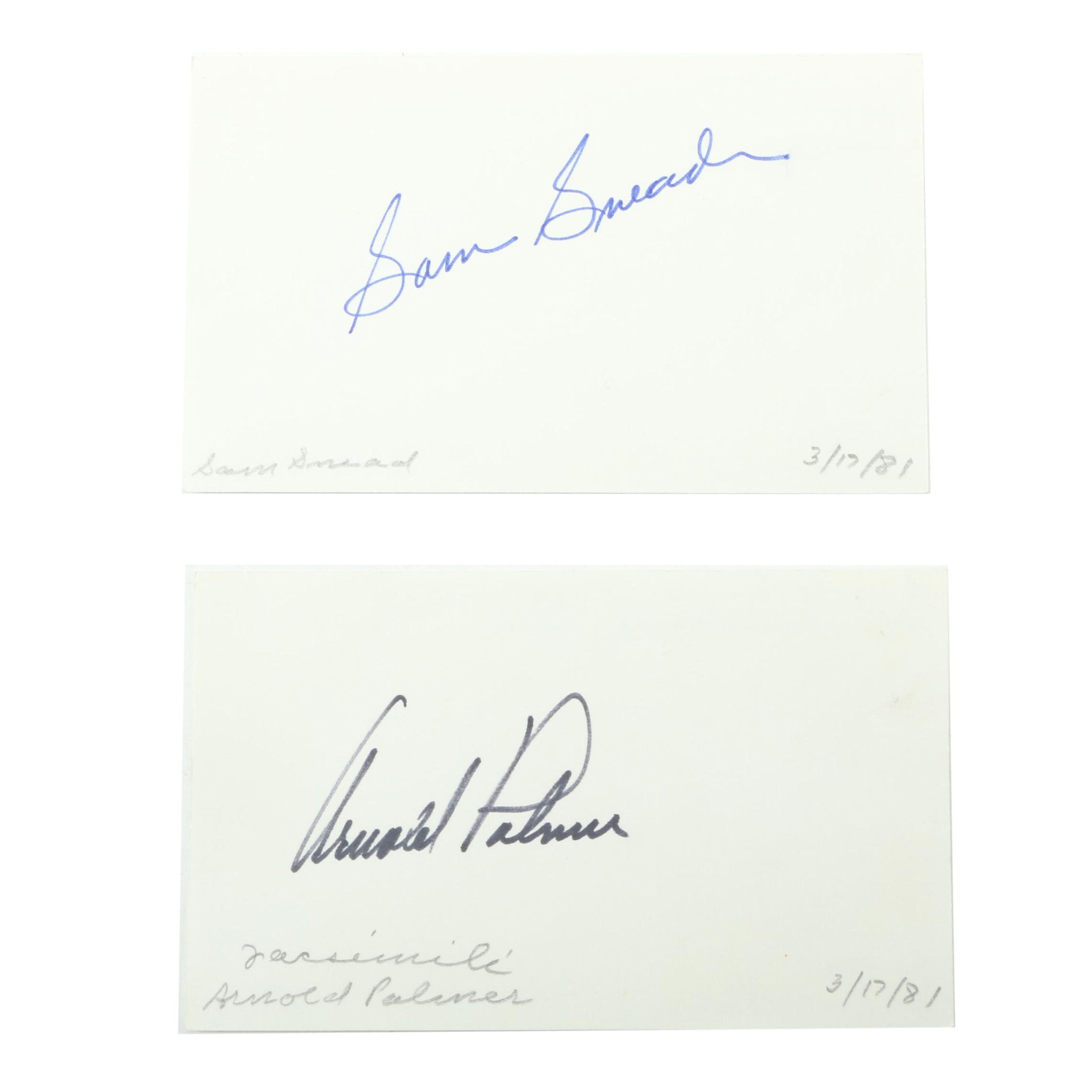 Arnold Palmer and Sam Snead Autographed Cards