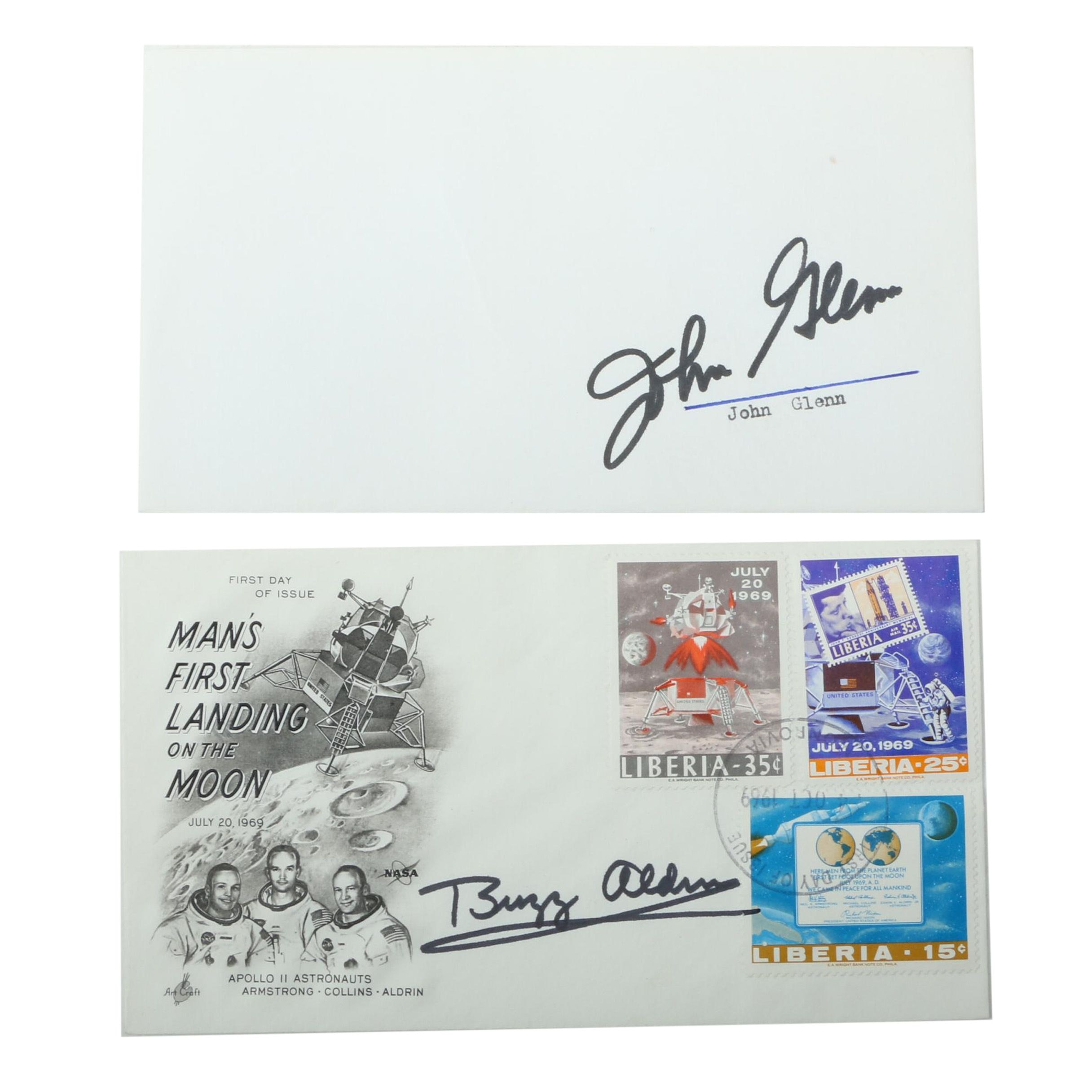 John Glenn and Buzz Aldrin Autographed Envelops