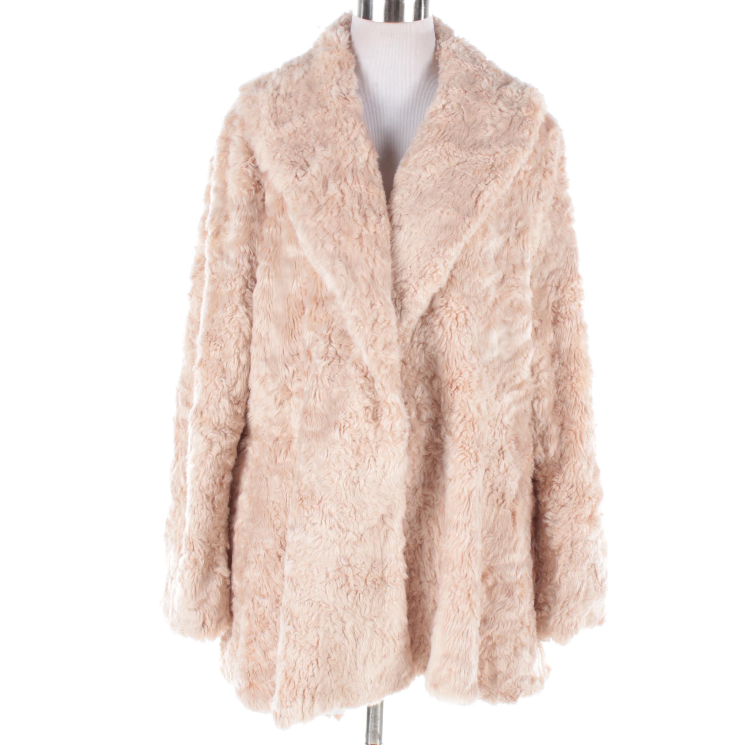 Luii Light Tan Faux Fur Coat with Shawl Collar