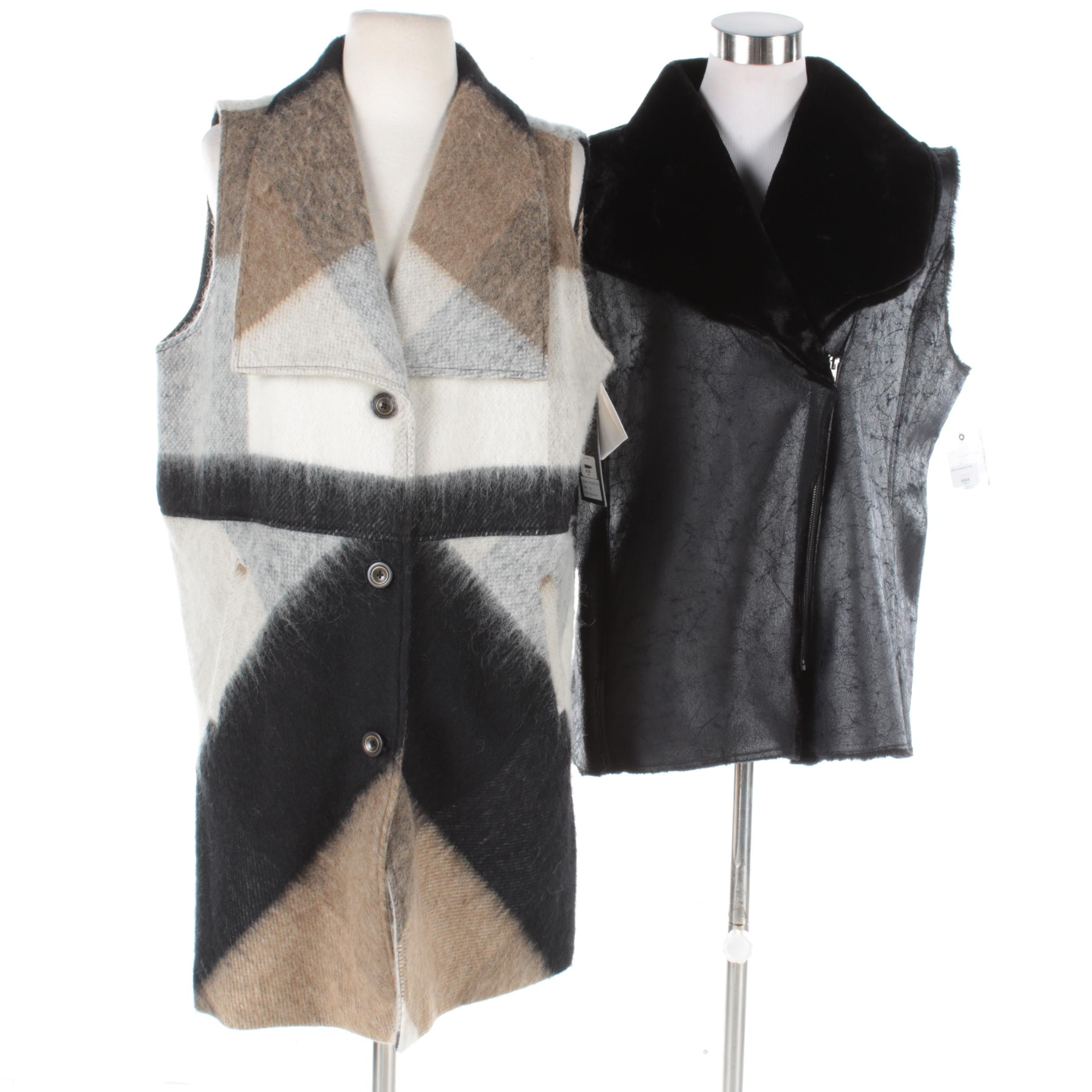 Women's Luii Plaid Wool and Faux Fur-Trimmed Vests