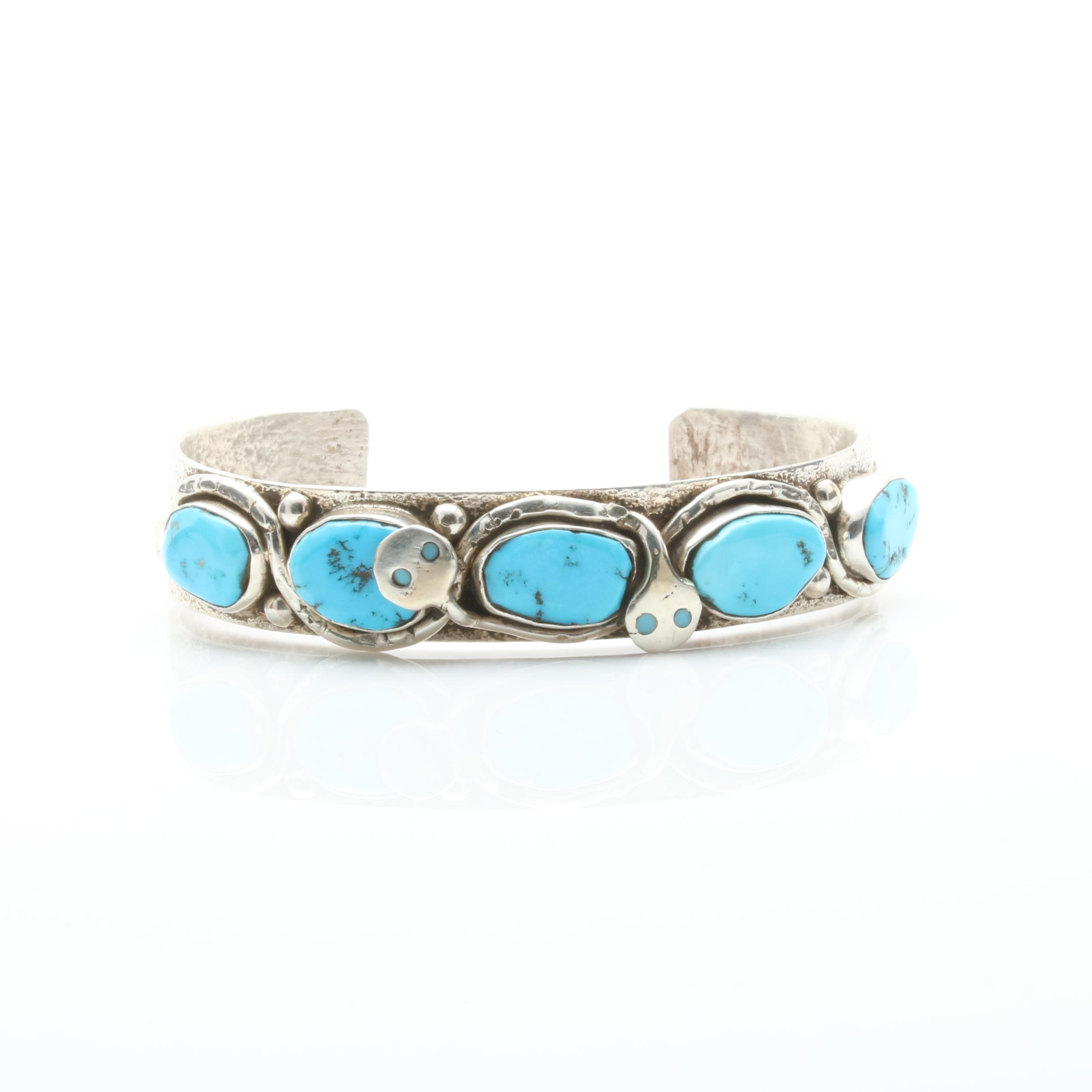 Jude Candelaria Zuni Sterling Silver Sandcast Turquoise Cuff Bracelet