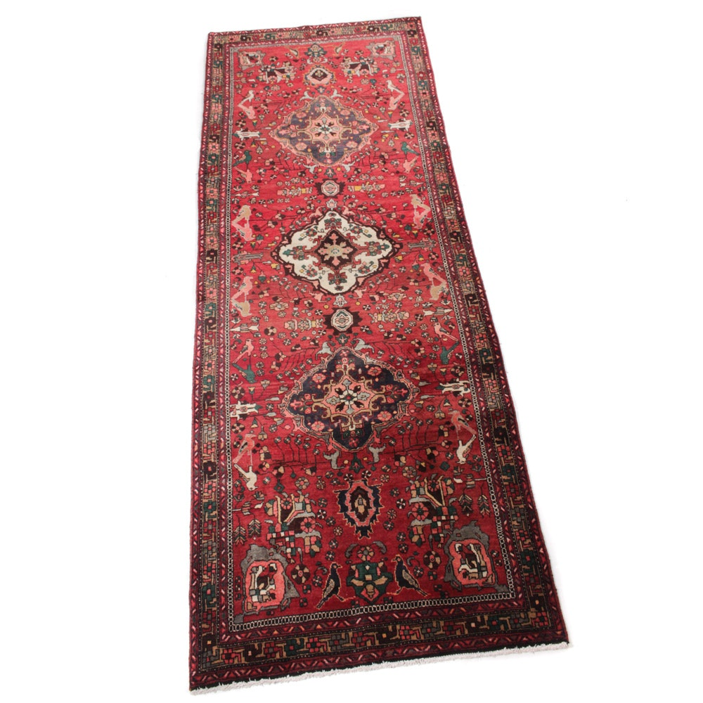 4' x 11' Semi-Antique Hand-Knotted Persian Heriz Pictorial Runner