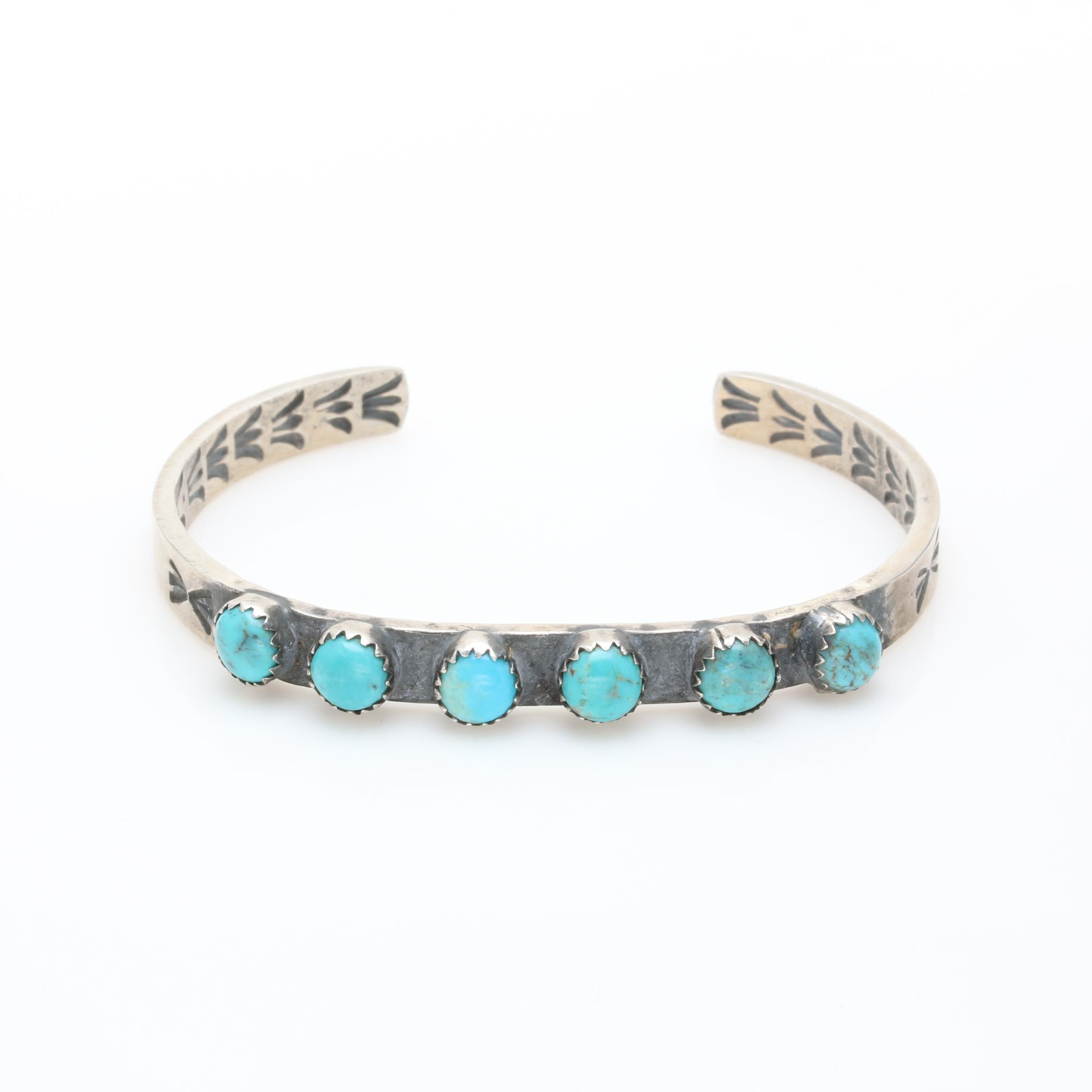 Victor Hicks Navajo Diné Sterling Silver Turquoise Cuff Bracelet