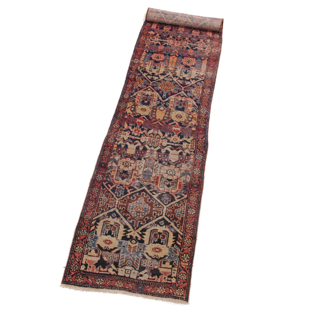 3' x 12' Antique Hand-Knotted Persian Heriz Serapi Runner