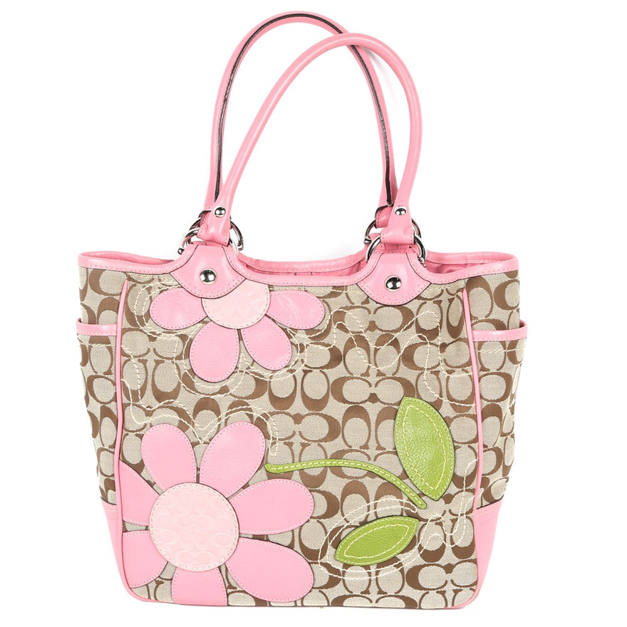 Coach Bleeker Signature Flower Appliqué Tote Handbag   EBTH c6ee7d336e543