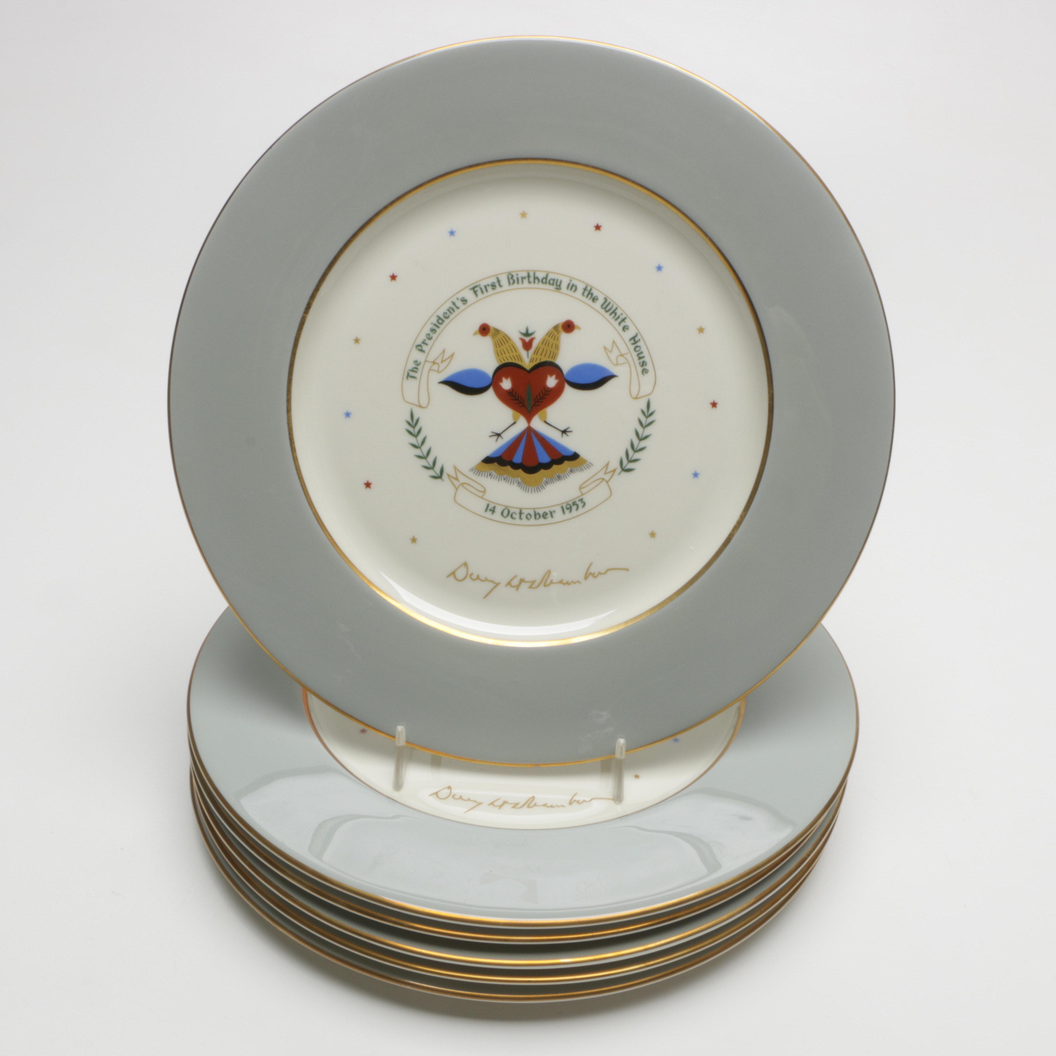 Castleton China Plates Commemorating Eisenhower's Birthday in the White House