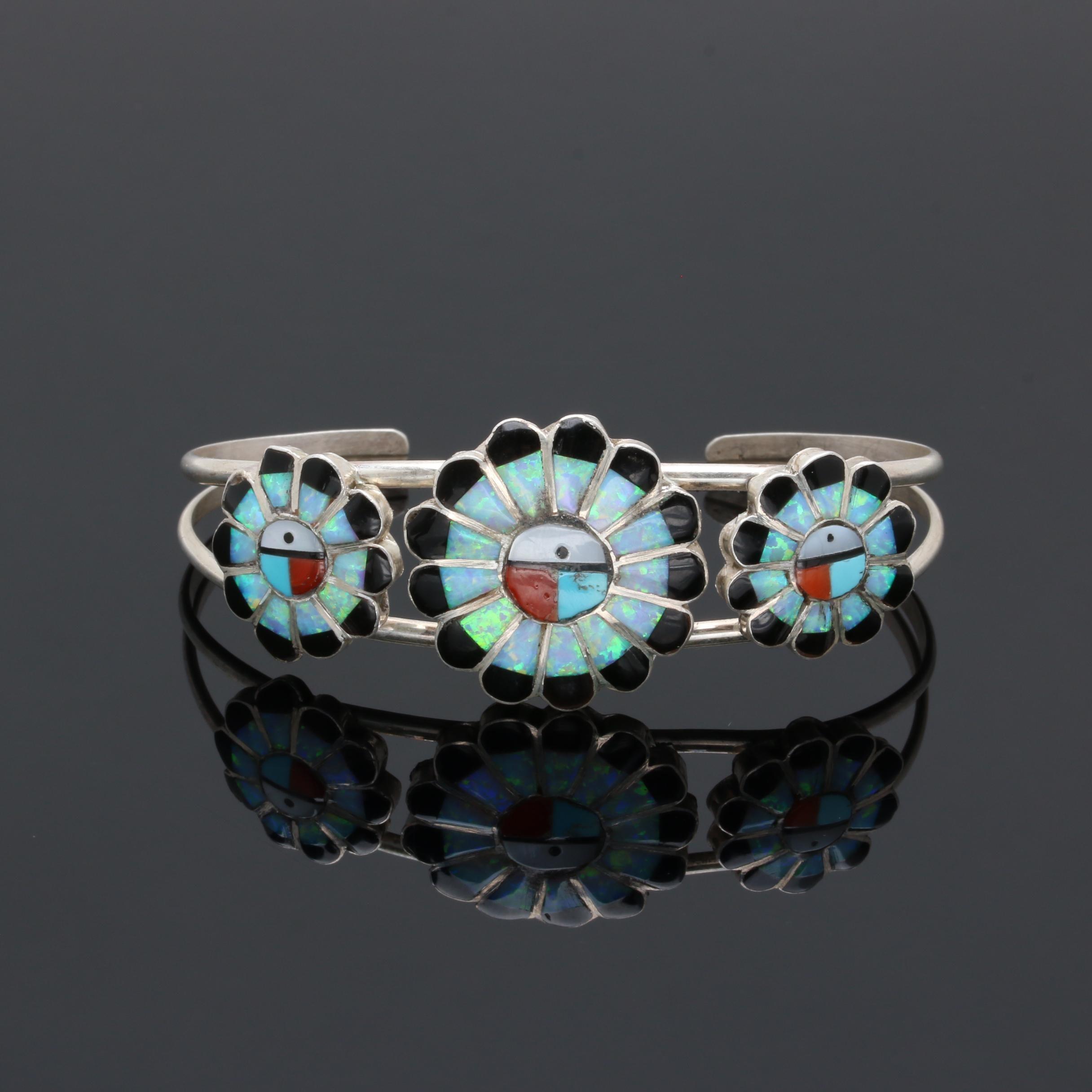 Southwestern Style Sterling Silver Gemstone Cuff Bracelet