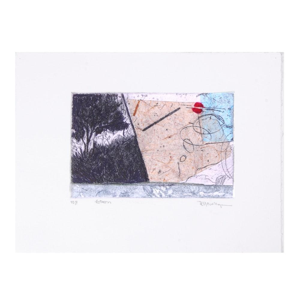 "Robert Llewellyn Monoprint with Chine Collé ""Eden"""