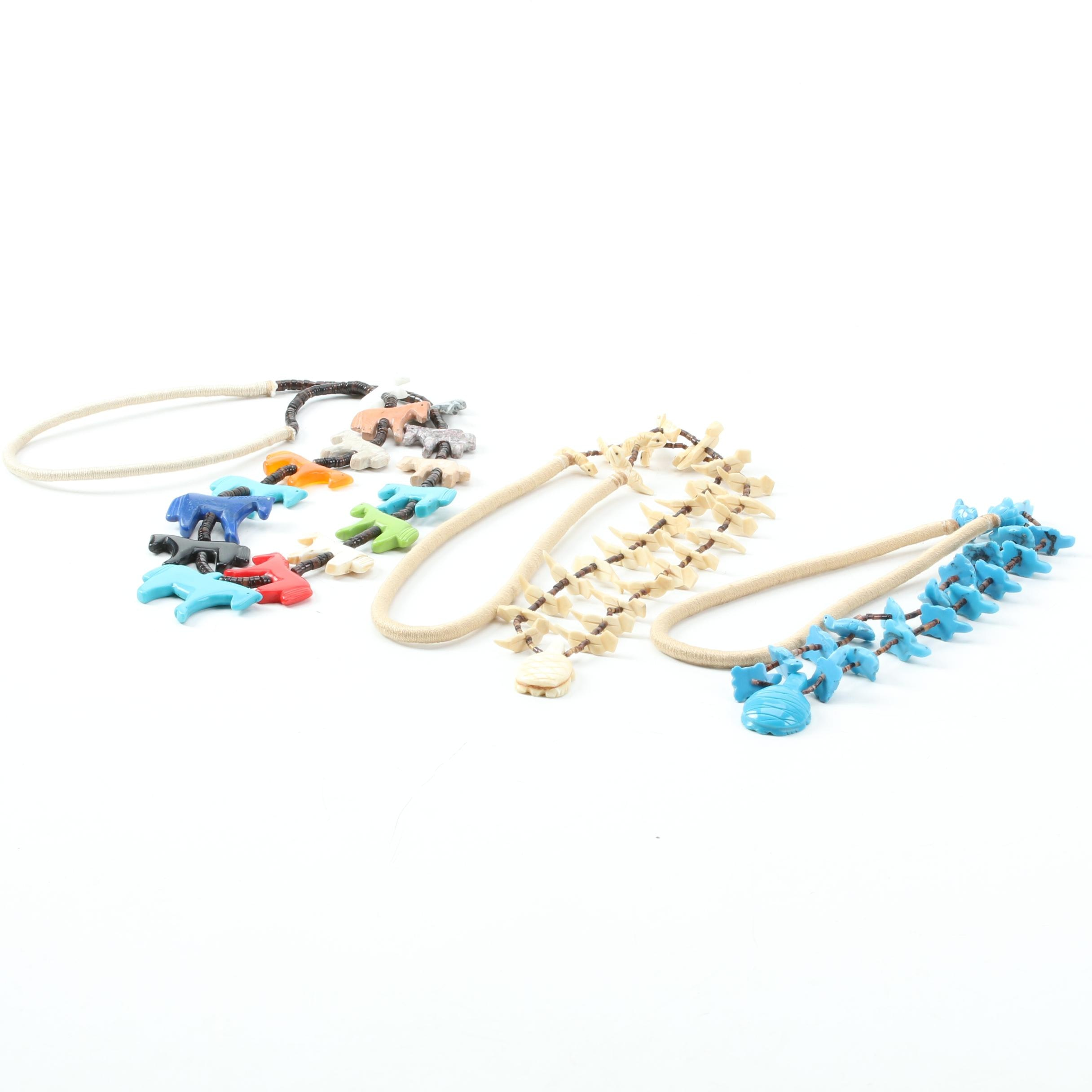 Southwestern Style Wrapped Cord Fetish Necklaces Including Jasper and Bone
