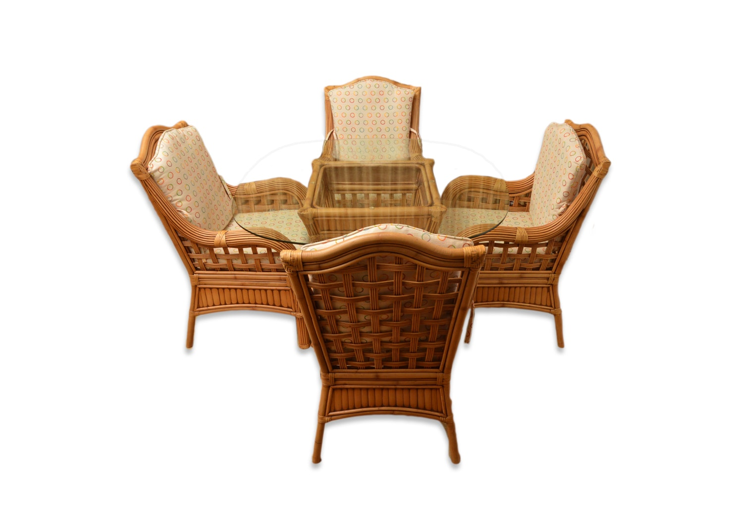 Rattan Armchairs and Glass Top Table with Tribor International Trading Cushions
