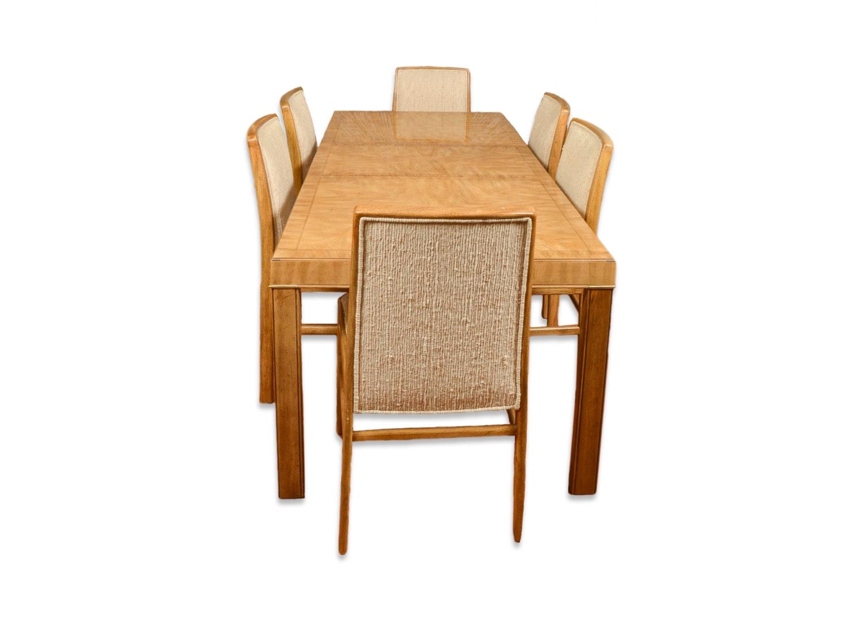 Vintage Pecan Veneered Dining Table with Side Chairs by Drexel-Heritage
