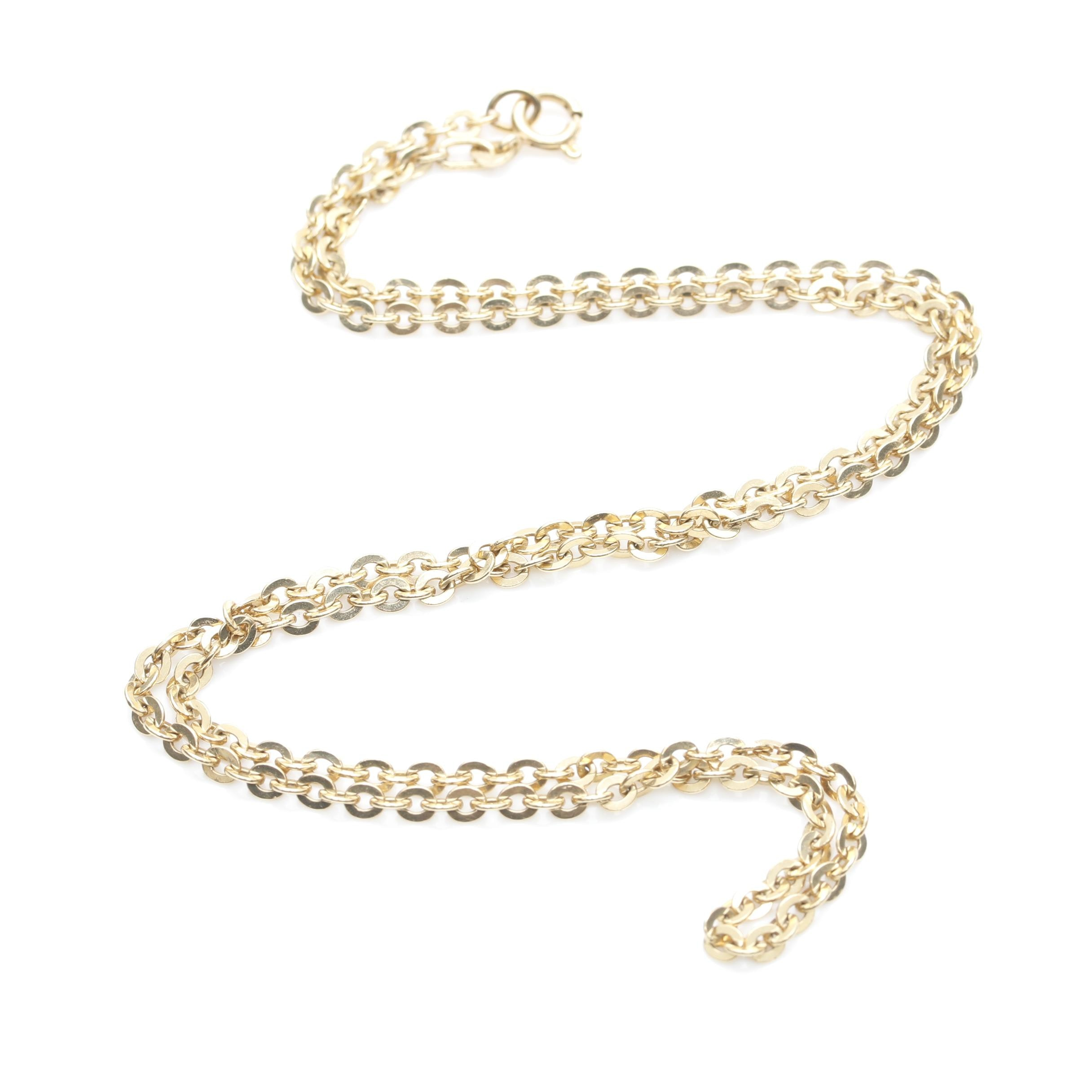 18K Yellow Gold Cable Chain Necklace