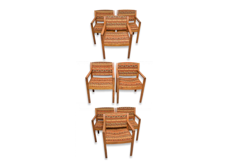 Vintage Mid-Century Gunlocke Upholstered Oak Armchairs
