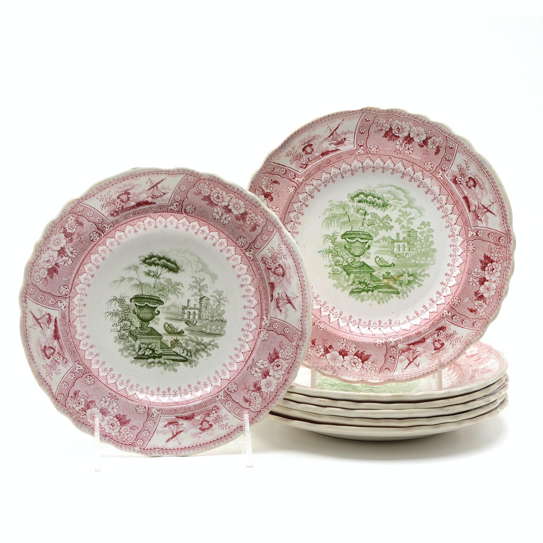 Antique Bi-Color Staffordshire Transferware Dessert Plates