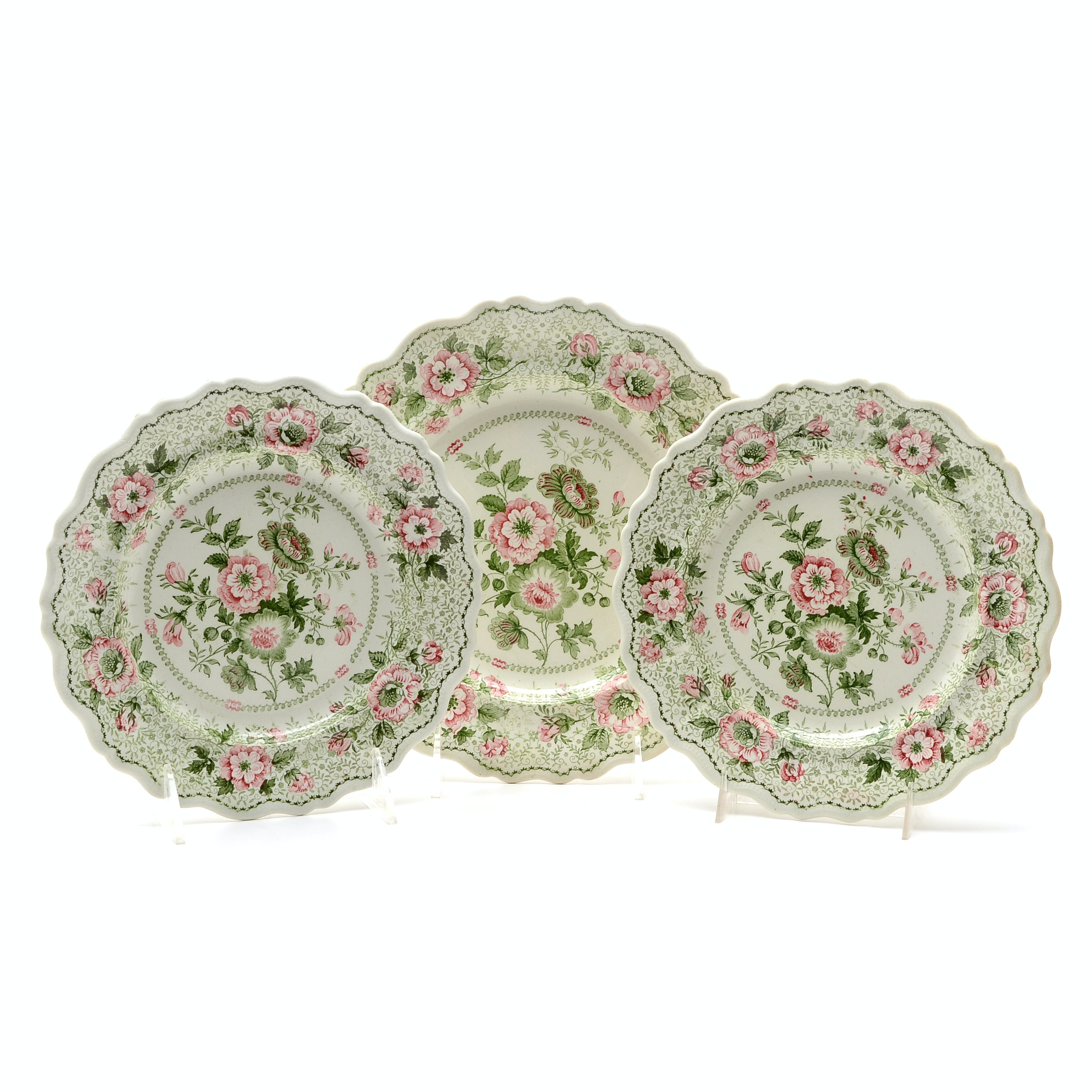 Antique Bi-Color Staffordshire Transferware Luncheon Plates and Salad Plates