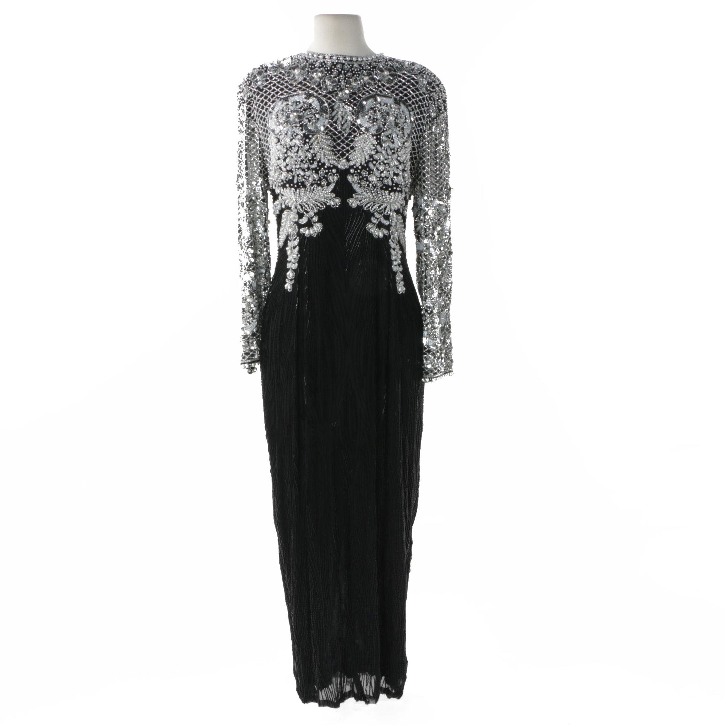 Vintage Black Tie Beaded Silk Evening Dress