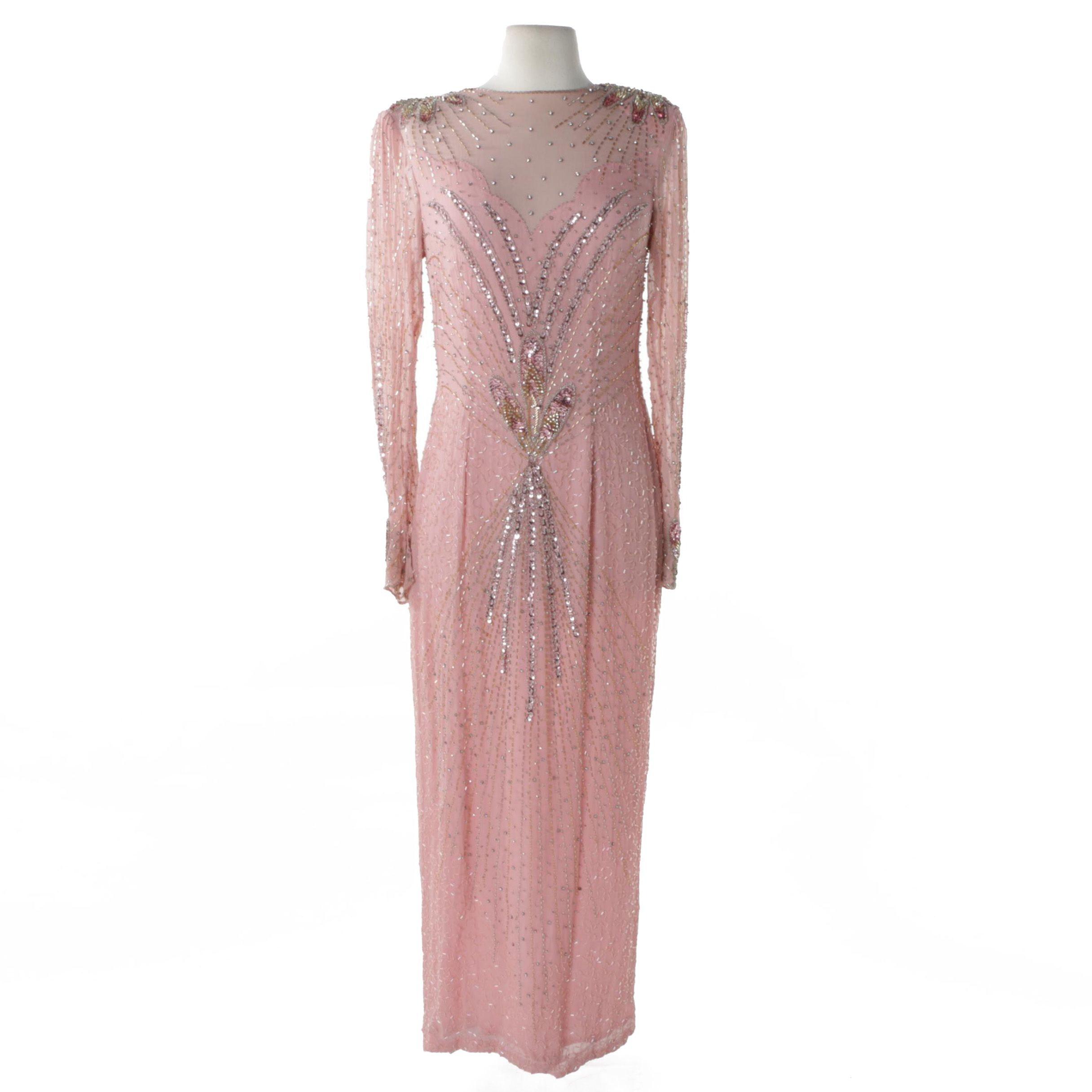 Landa Pink Silk Embellished Evening Dress with Illusion Yoke