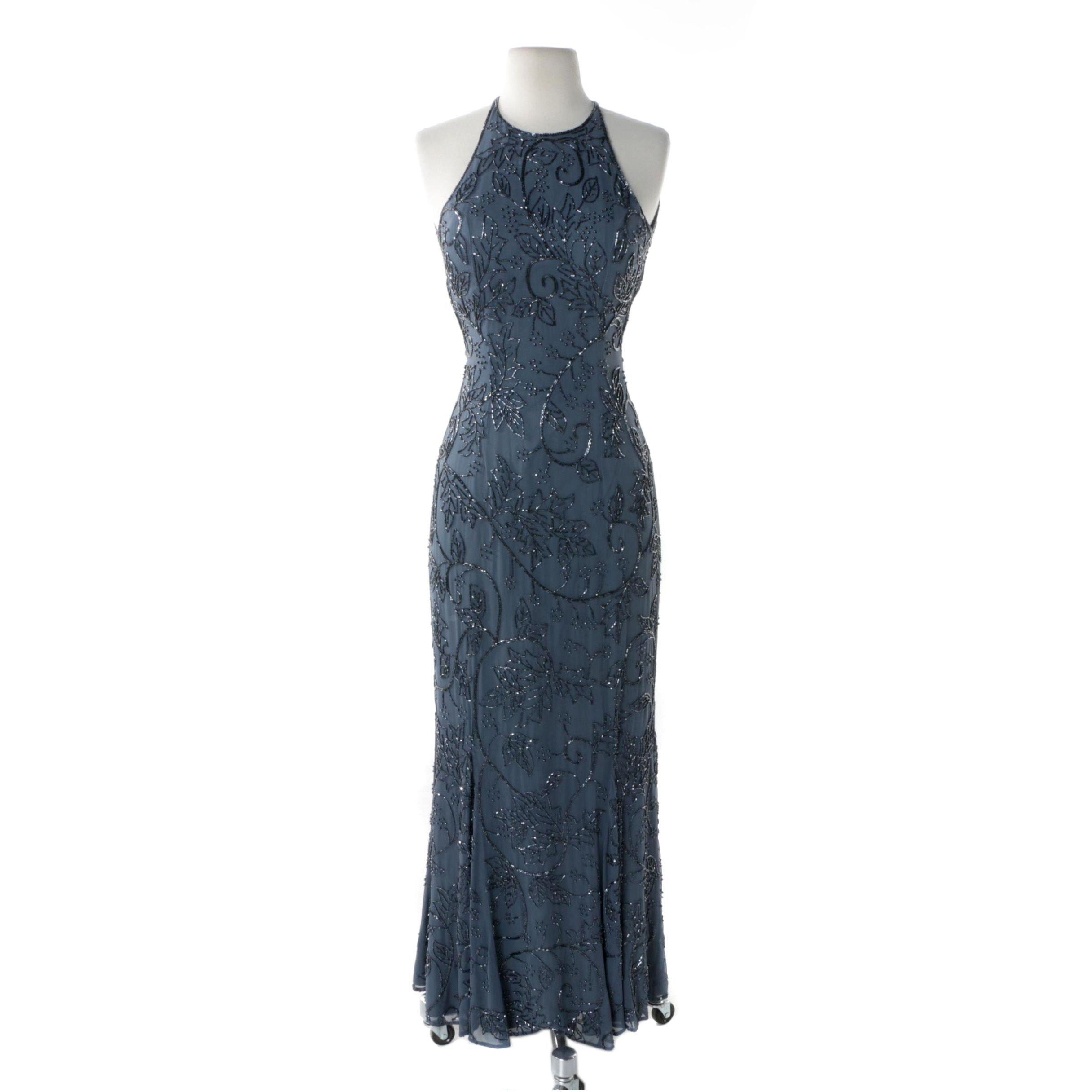 Cache Beaded Slate Blue Silk Crepe Sleeveless Evening Dress