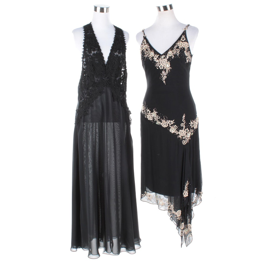 Cache Embroidered and Beaded Evening Dress and Vintage Flora Nikrooz ...
