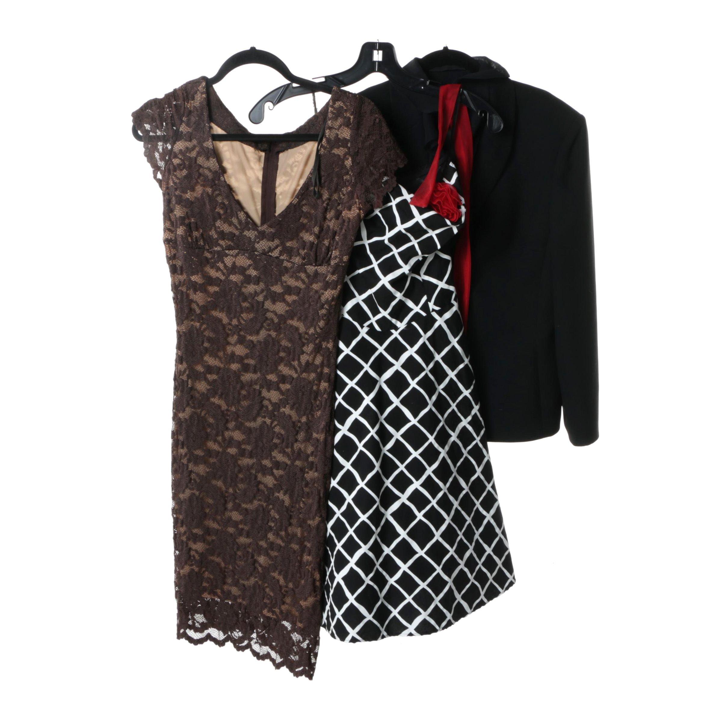 Women's Short Sleeved and Sleeveless Dresses and Tahari Blazer