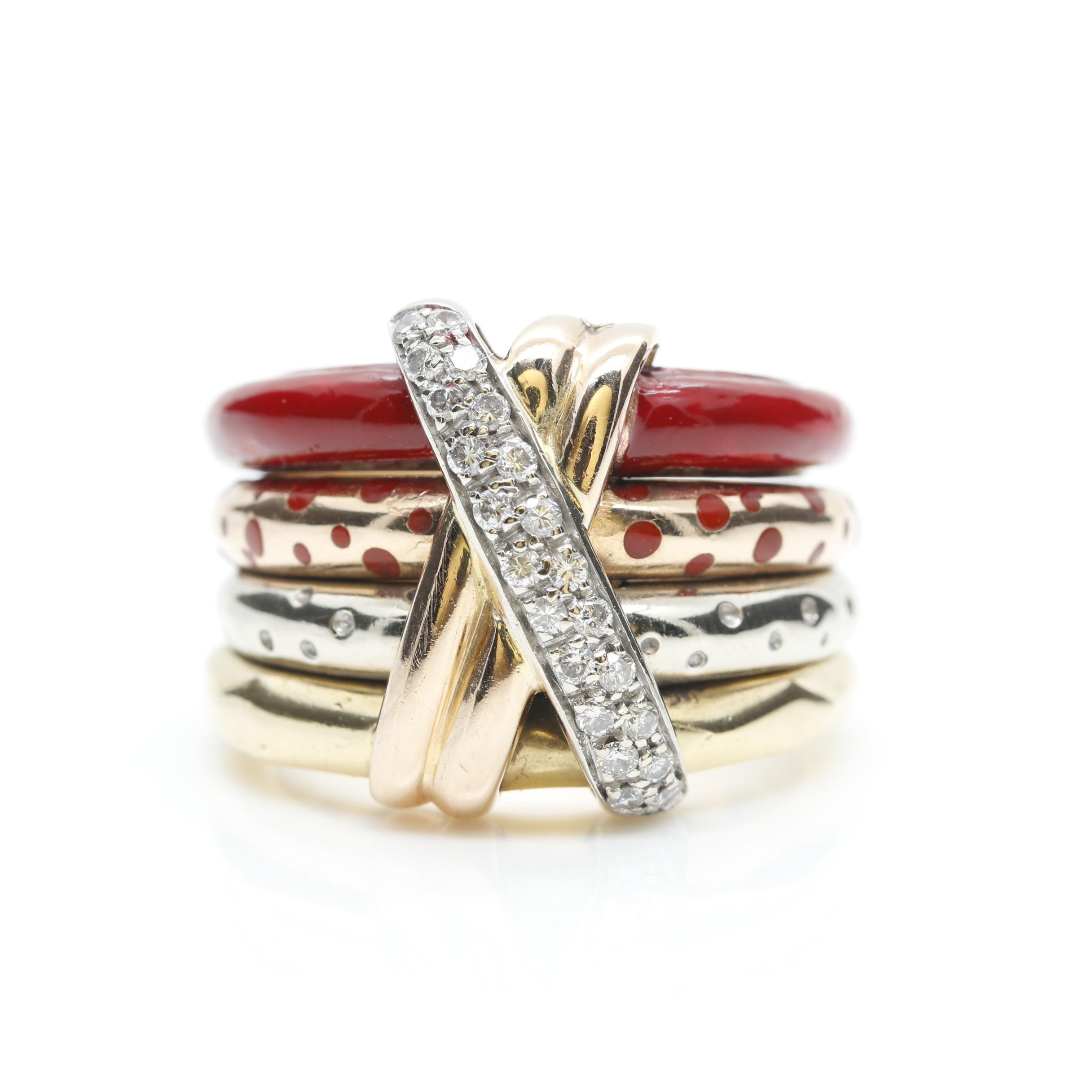 La Nouvelle Bague 18K Tri-Color Gold Diamond Ring
