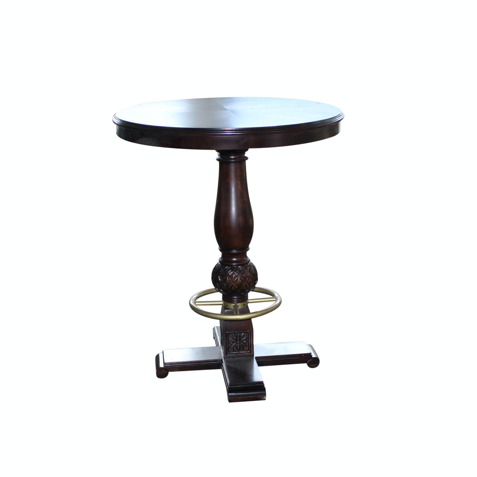 Mahogany Finished Wood Bar Table with Metal Footrest