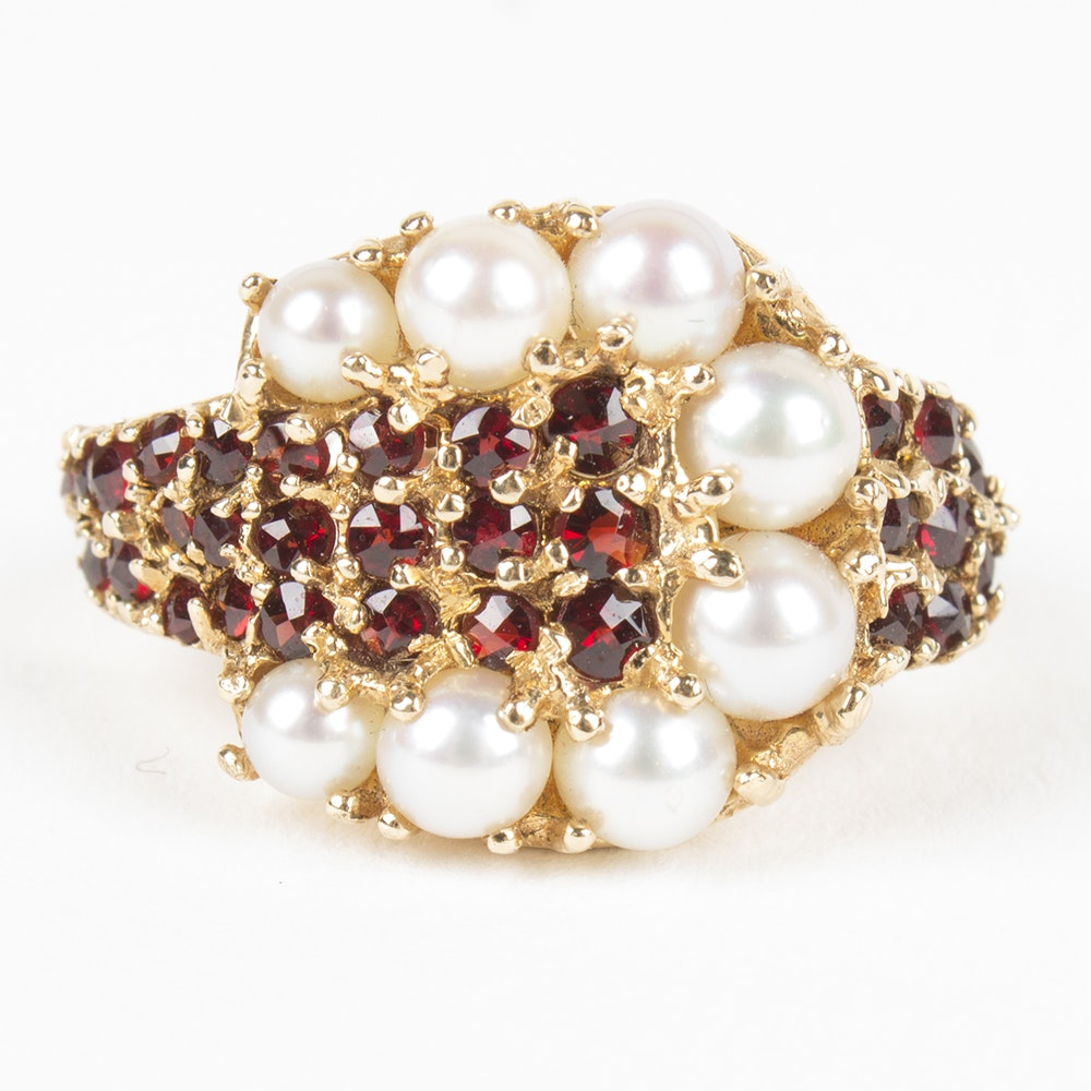 Vintage 14K Yellow Gold Pearl and Garnet Ring