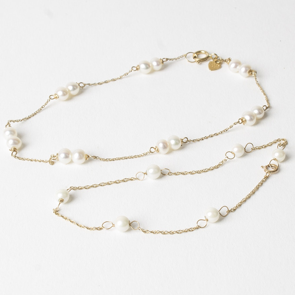 14K Yellow Gold Pearl Bracelet and Anklet