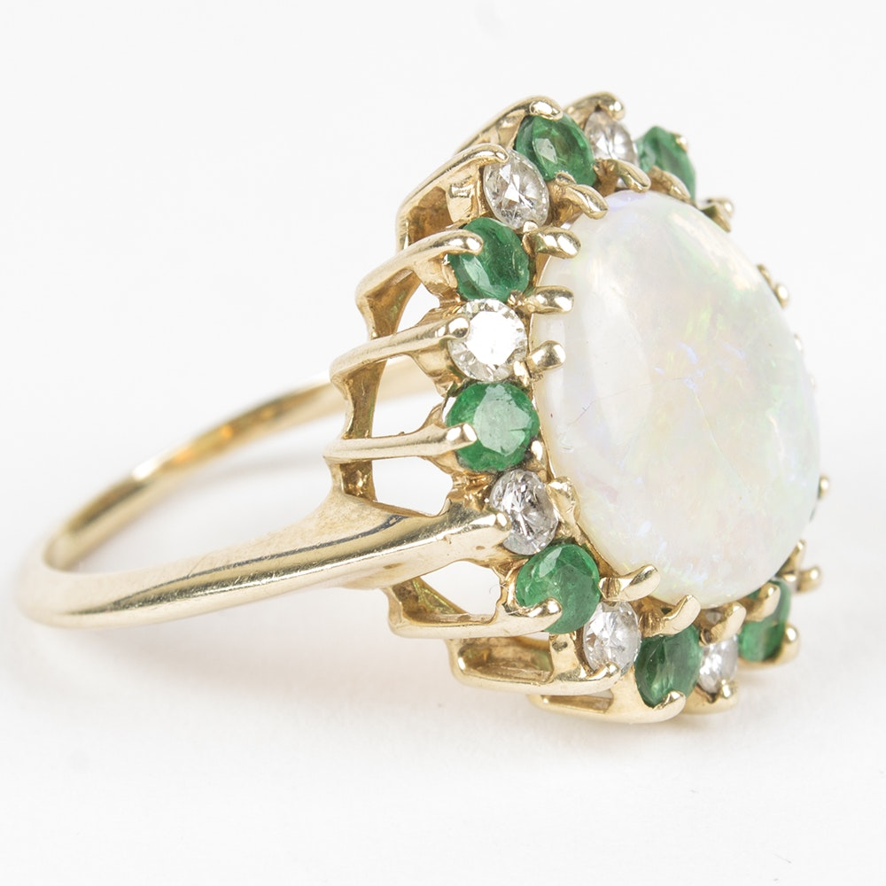 14K Yellow Gold Opal, Diamond, and Emerald Ring