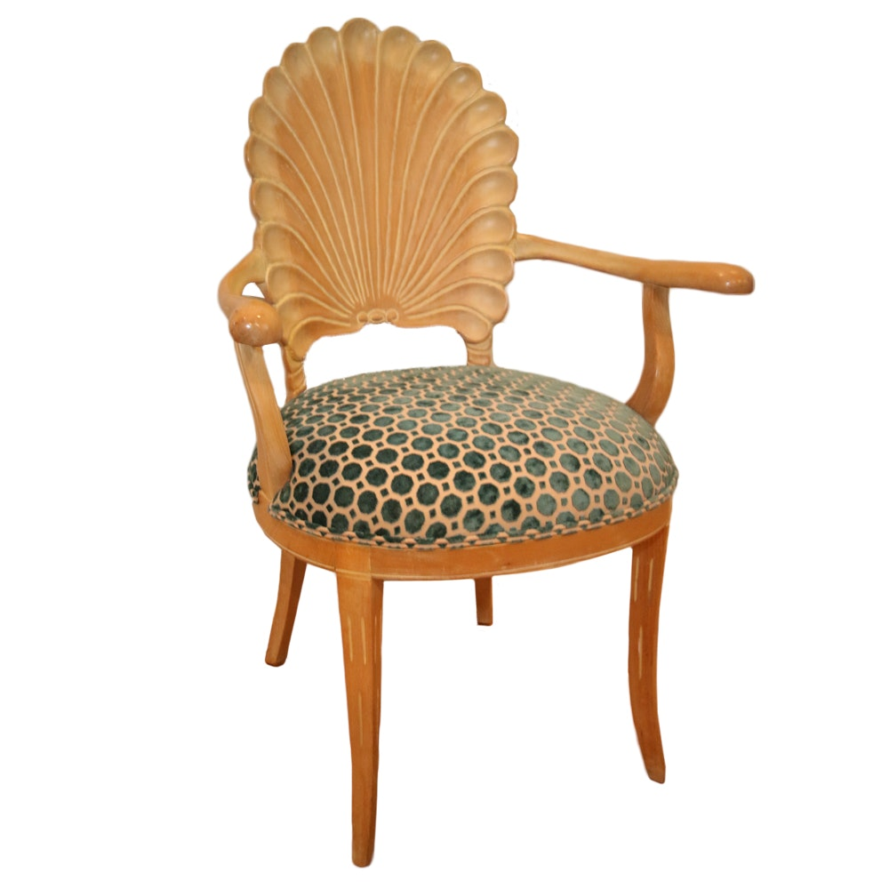 Shell-Carved Upholstered Armchair