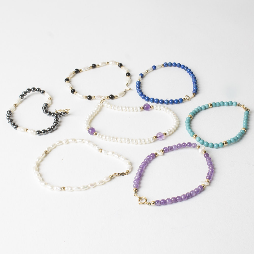 14K Yellow Gold Gemstone Bead Bracelet Collection