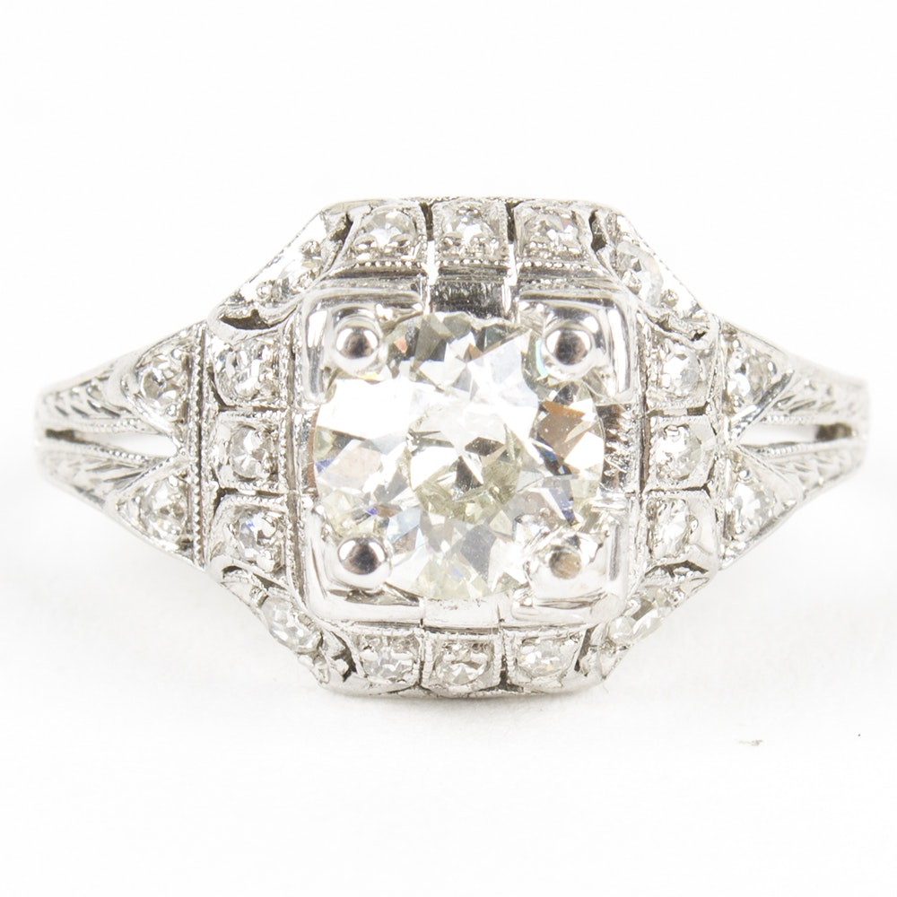 Art Deco Style Platinum and 0. 99 CTW Diamond Ring