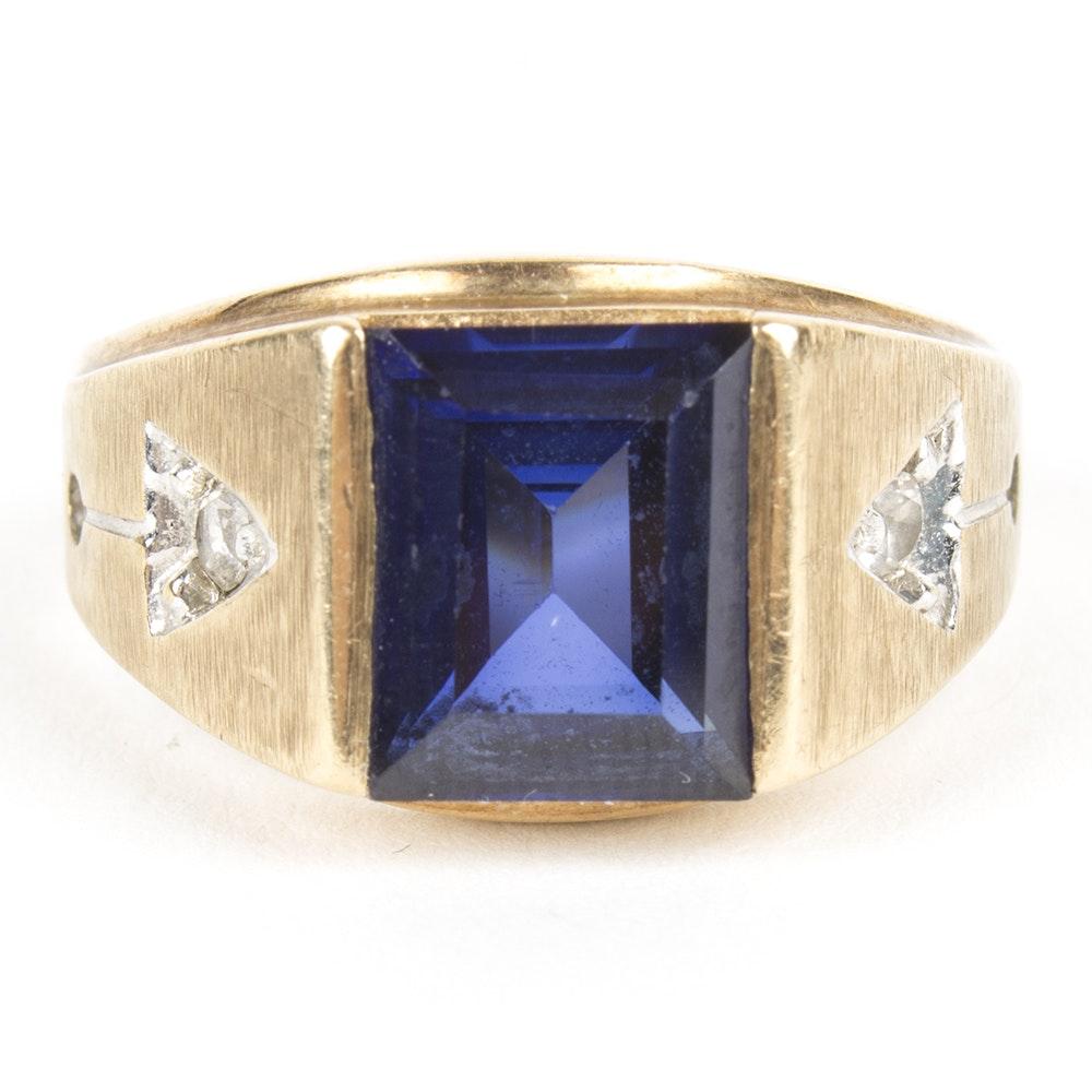 10K Yellow Gold Sapphire Ring