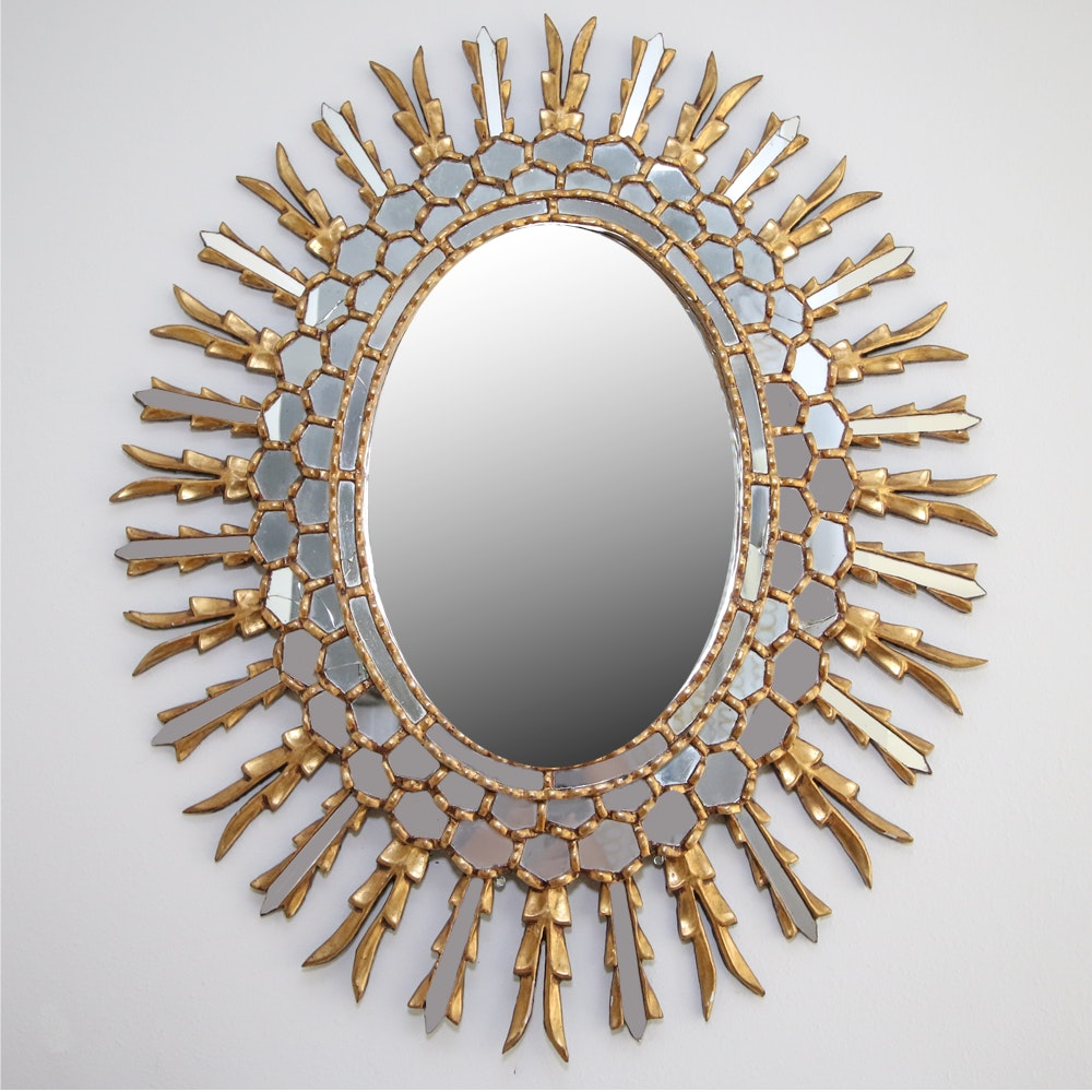 Ornate Wooden Oval Wall Mirror