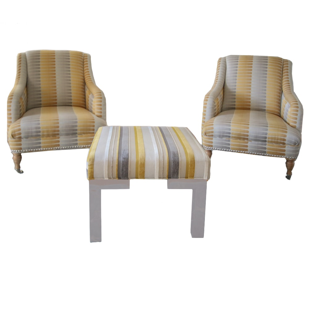 Pair of Armchairs With Matching Ottoman by Mitchell Gold + Bob Williams