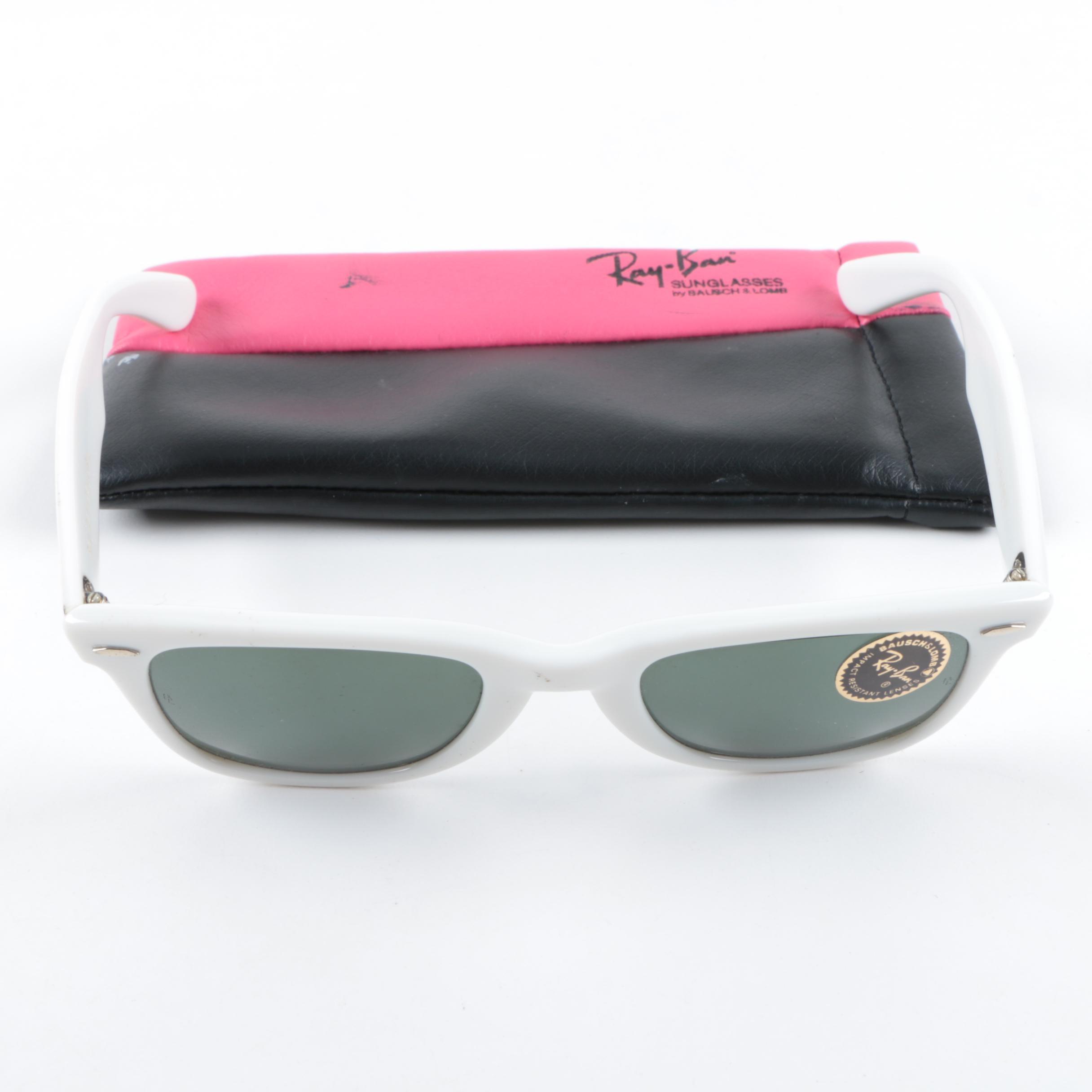 1980s Vintage Ray-Ban Bausch & Lomb White Wayfarer Sunglasses