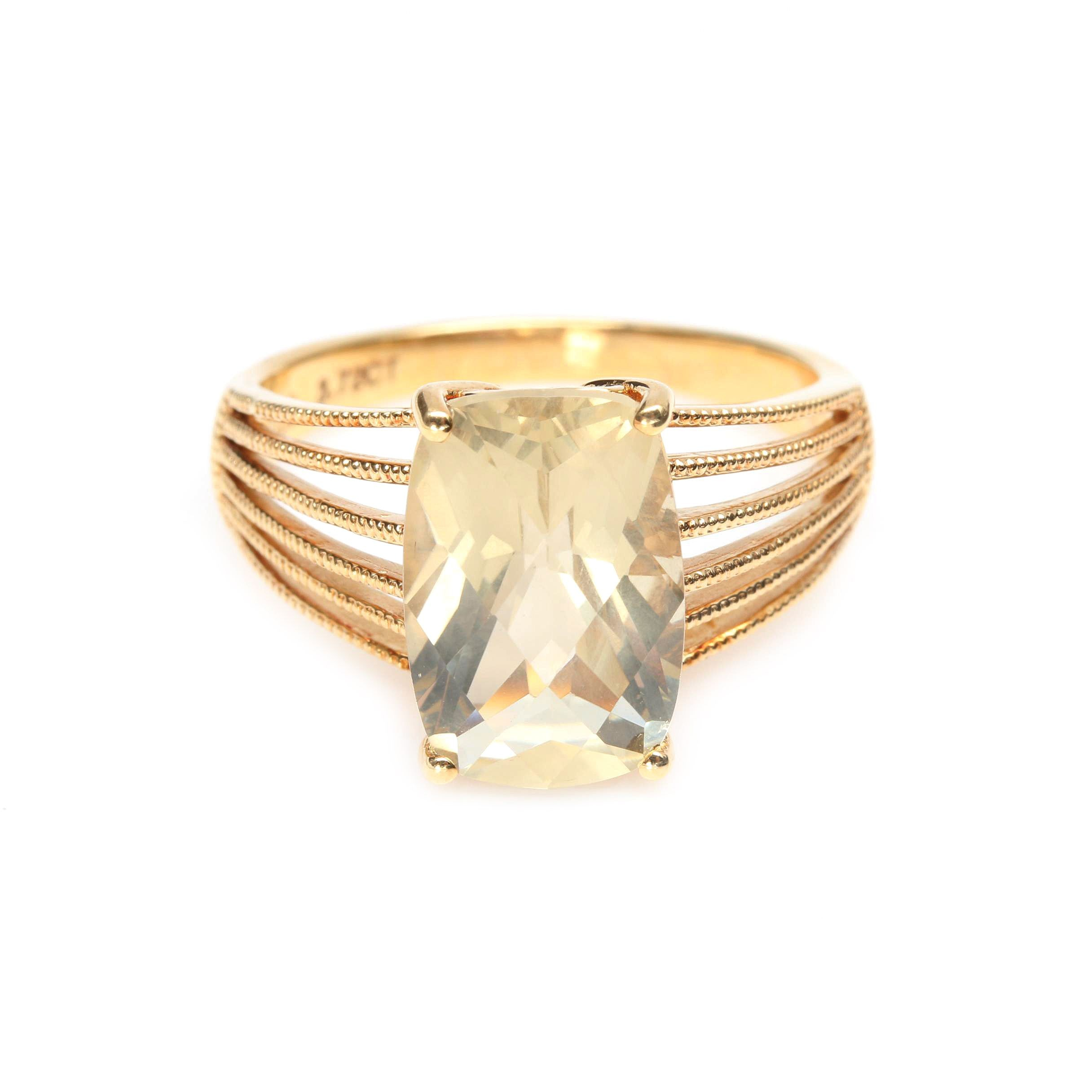 18K Yellow Gold Praseolite Ring