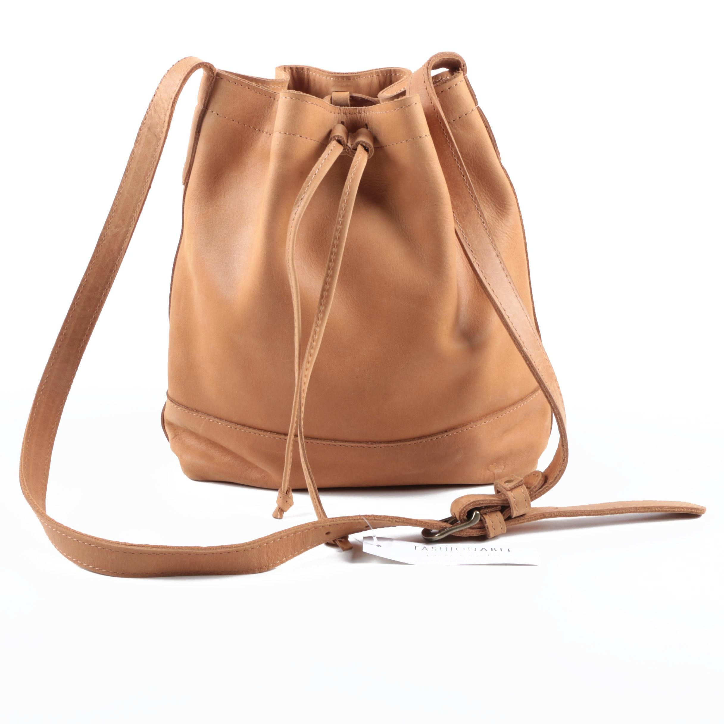 Fashionable Local and Global Raw Leather Tadesse Bucket Bag