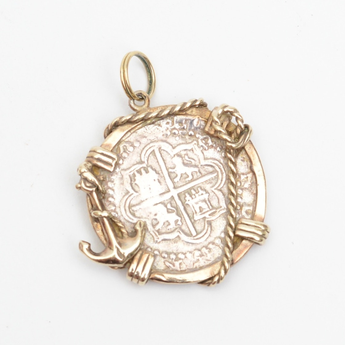 Sterling Silver Pendant with 16th Century Spanish Colonial Cob Coin