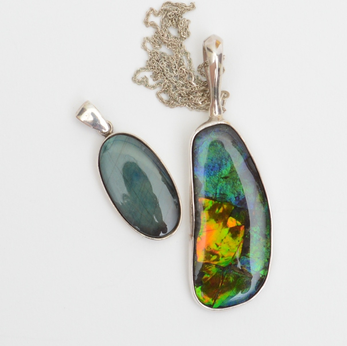 Sterling Silver Pendants with Ammolite and Labradorite