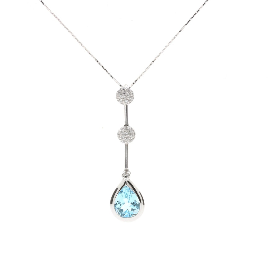 18k white gold blue topaz and diamond pendant necklace ebth 18k white gold blue topaz and diamond pendant necklace mozeypictures Image collections