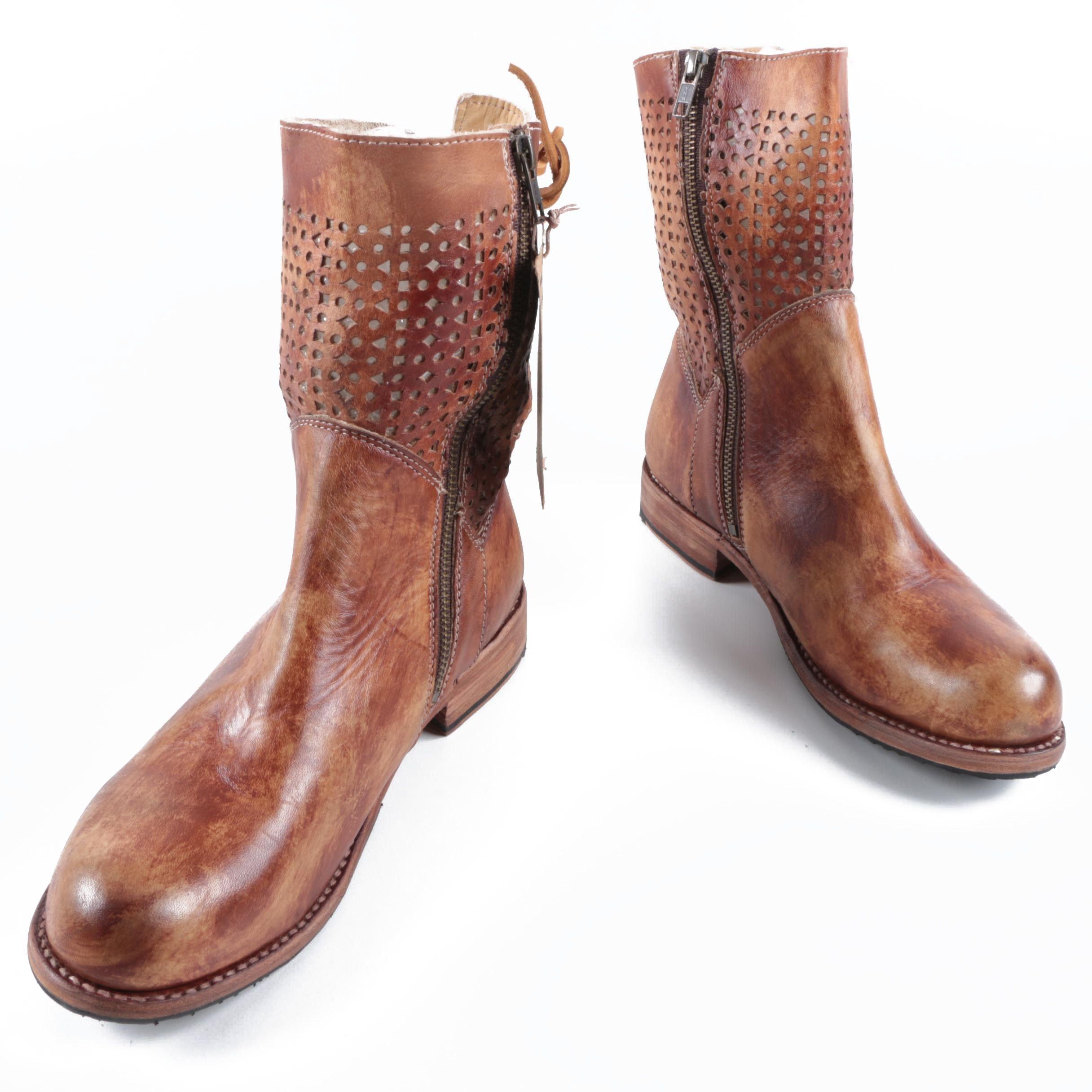 Women's Bed Stü Bridgewater Bench-Made Laser Cut Leather Short Boots