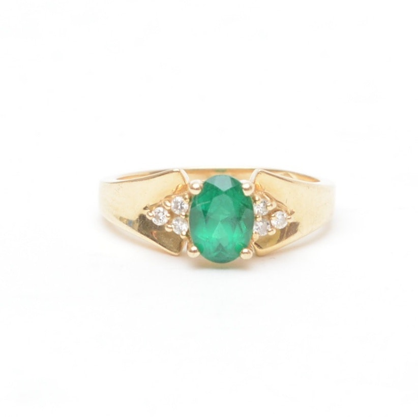 14K Yellow Gold Synthetic Emerald Ring with Diamonds