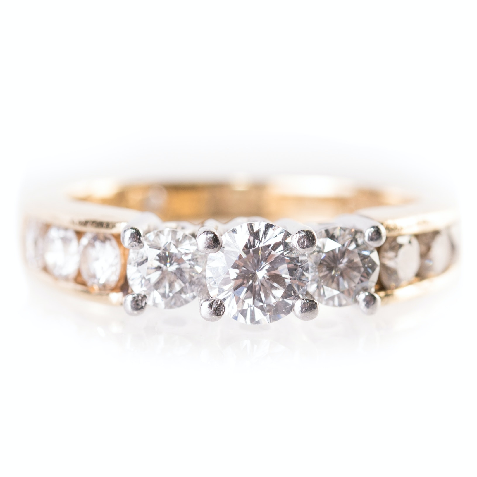 """The Leo"" 18K Yellow Gold and Platinum 1.47 CTW Diamond Engagement Ring"
