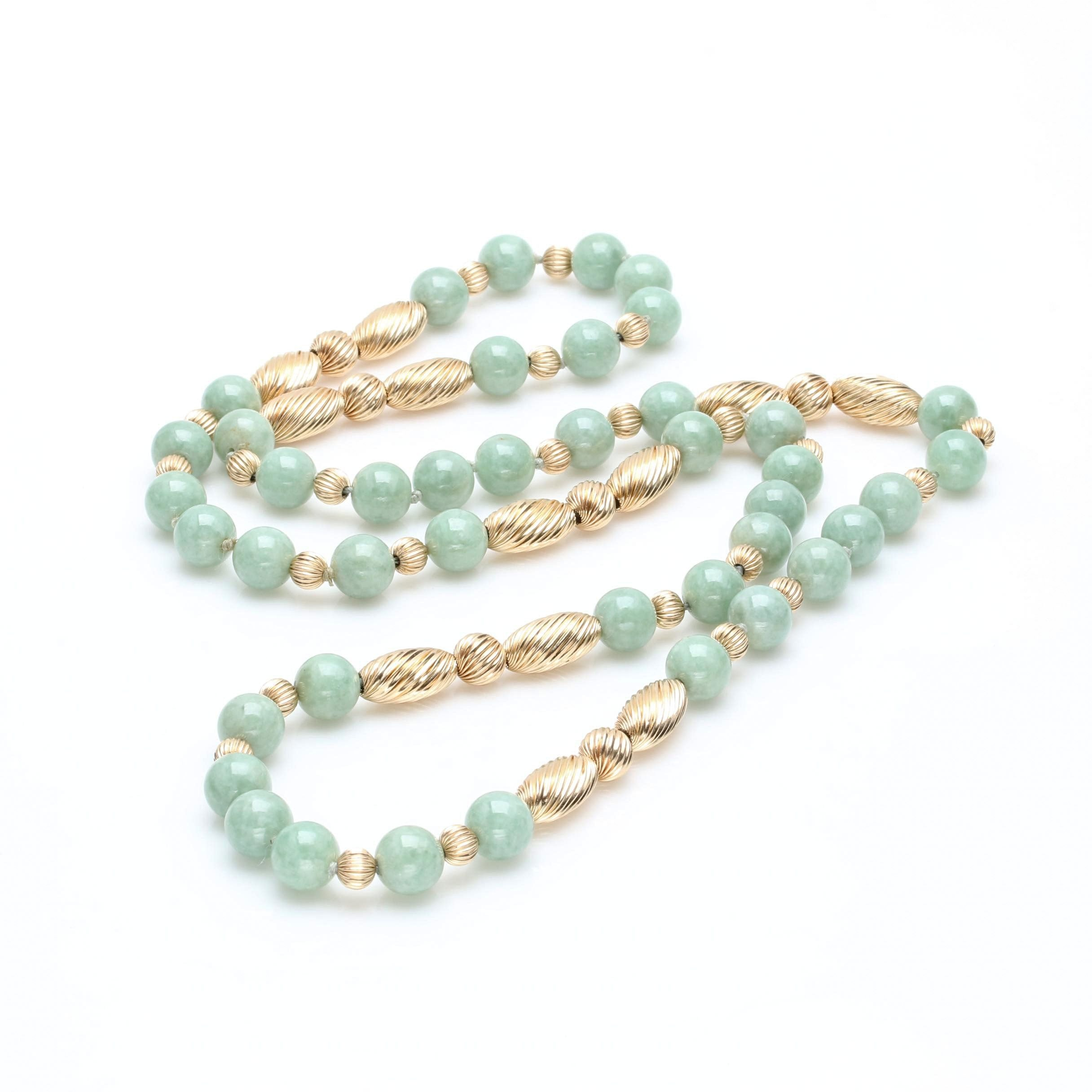 14K Yellow Gold Nephrite Beaded Necklace