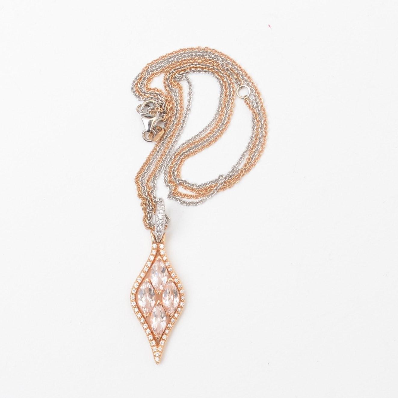 18K Morganite and Diamond Necklace